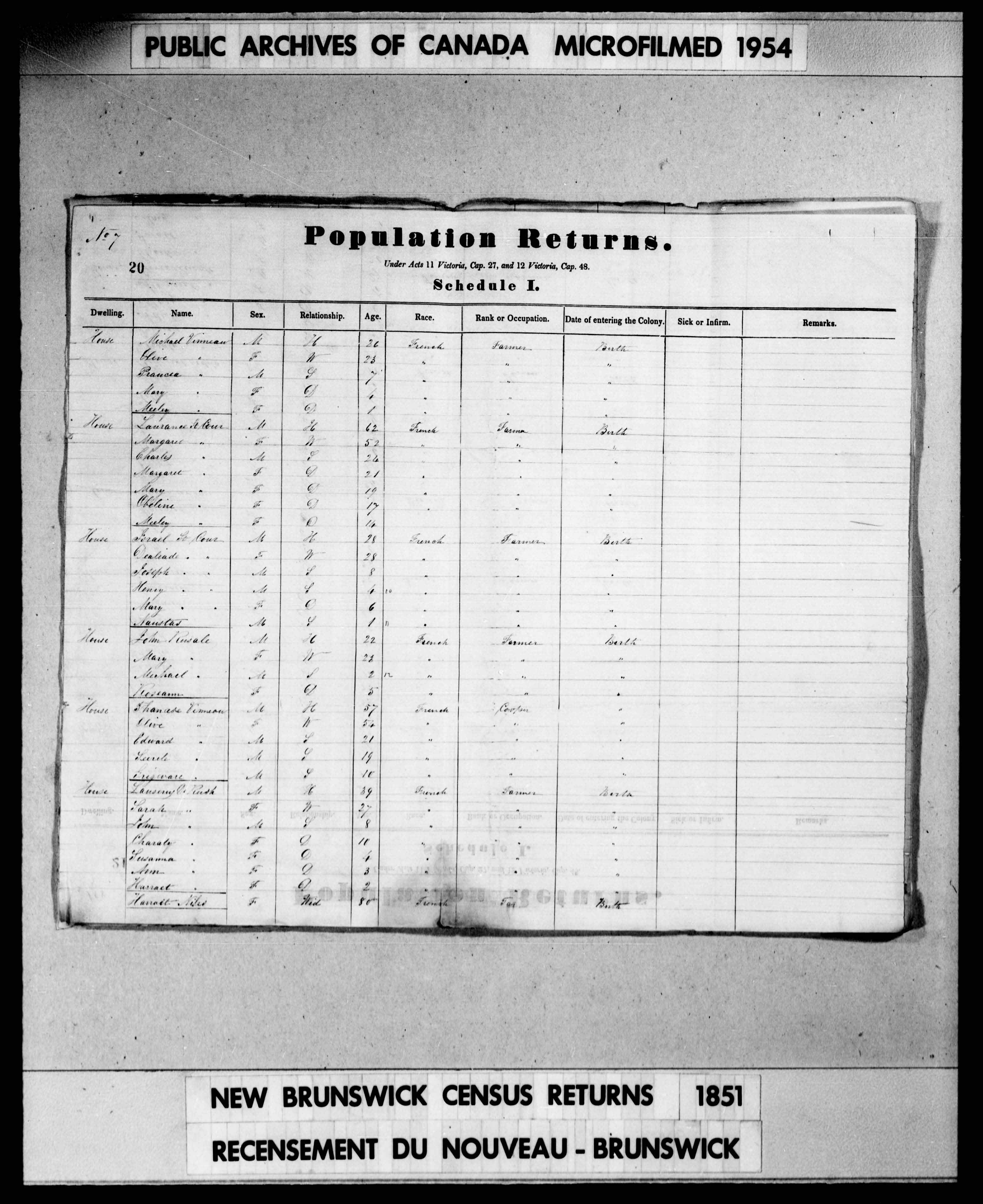 Digitized page of Census of 1851 (Canada East, Canada West, New Brunswick and Nova Scotia), Page number 20, for Shanase Vinneau