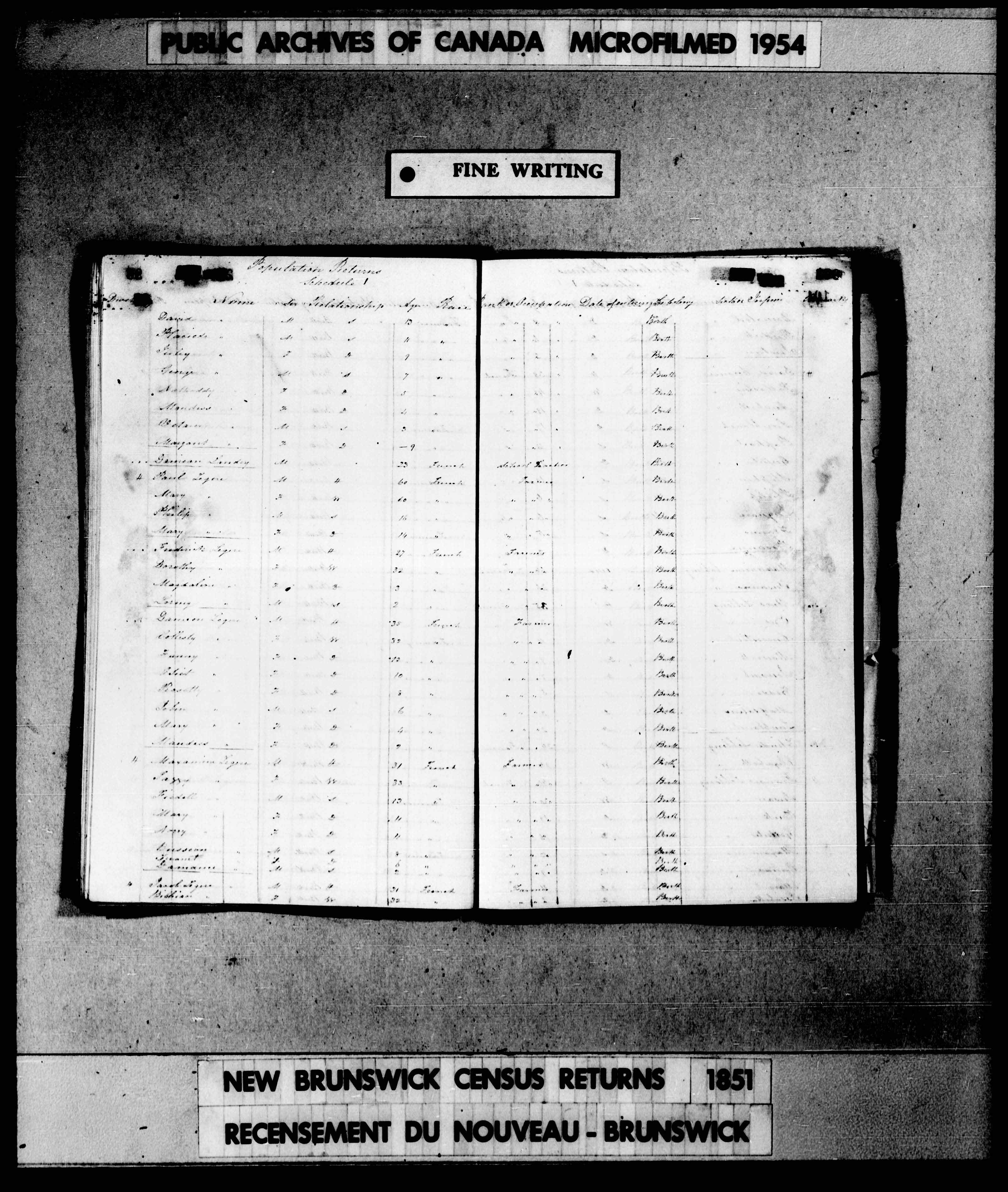Digitized page of Census of 1851 (Canada East, Canada West, New Brunswick and Nova Scotia), Page number , for Damion Legere