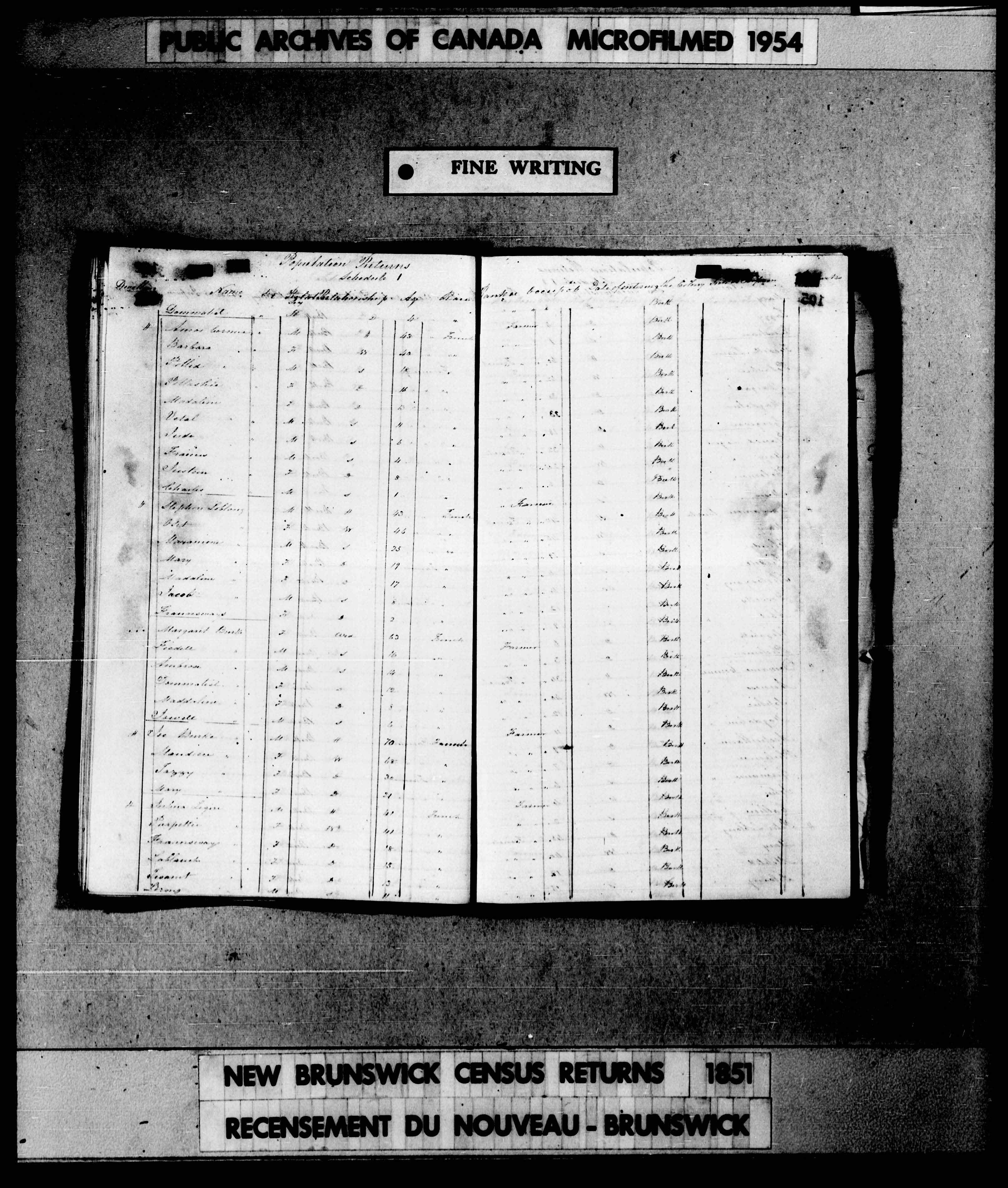 Digitized page of Census of 1851 (Canada East, Canada West, New Brunswick and Nova Scotia), Page number , for Julina Legere