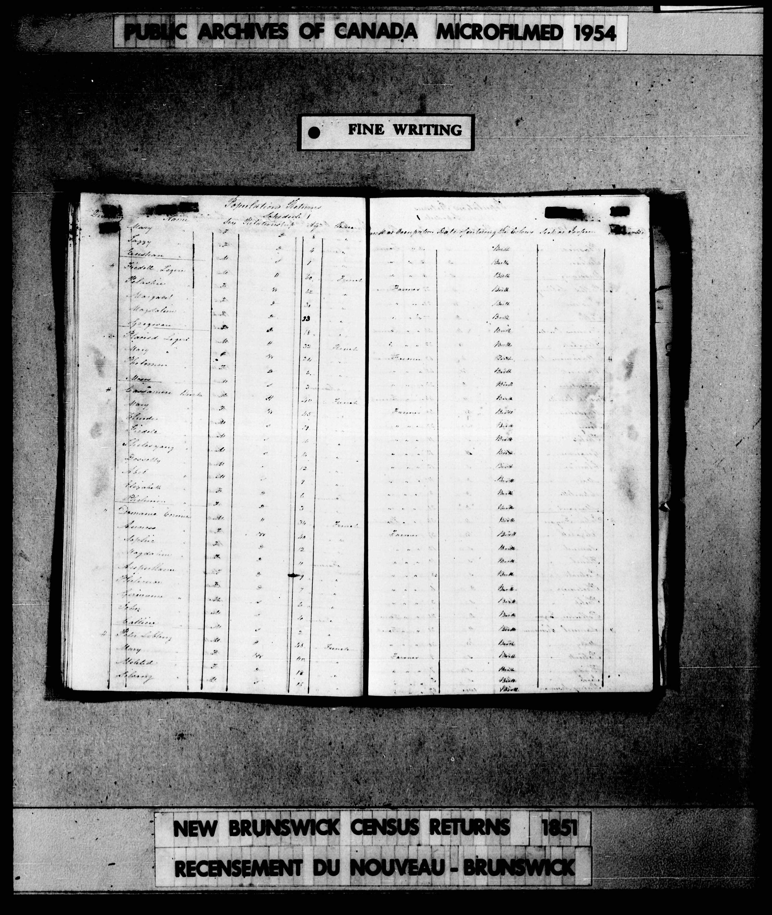 Digitized page of Census of 1851 (Canada East, Canada West, New Brunswick and Nova Scotia), Page number , for Placied Legere