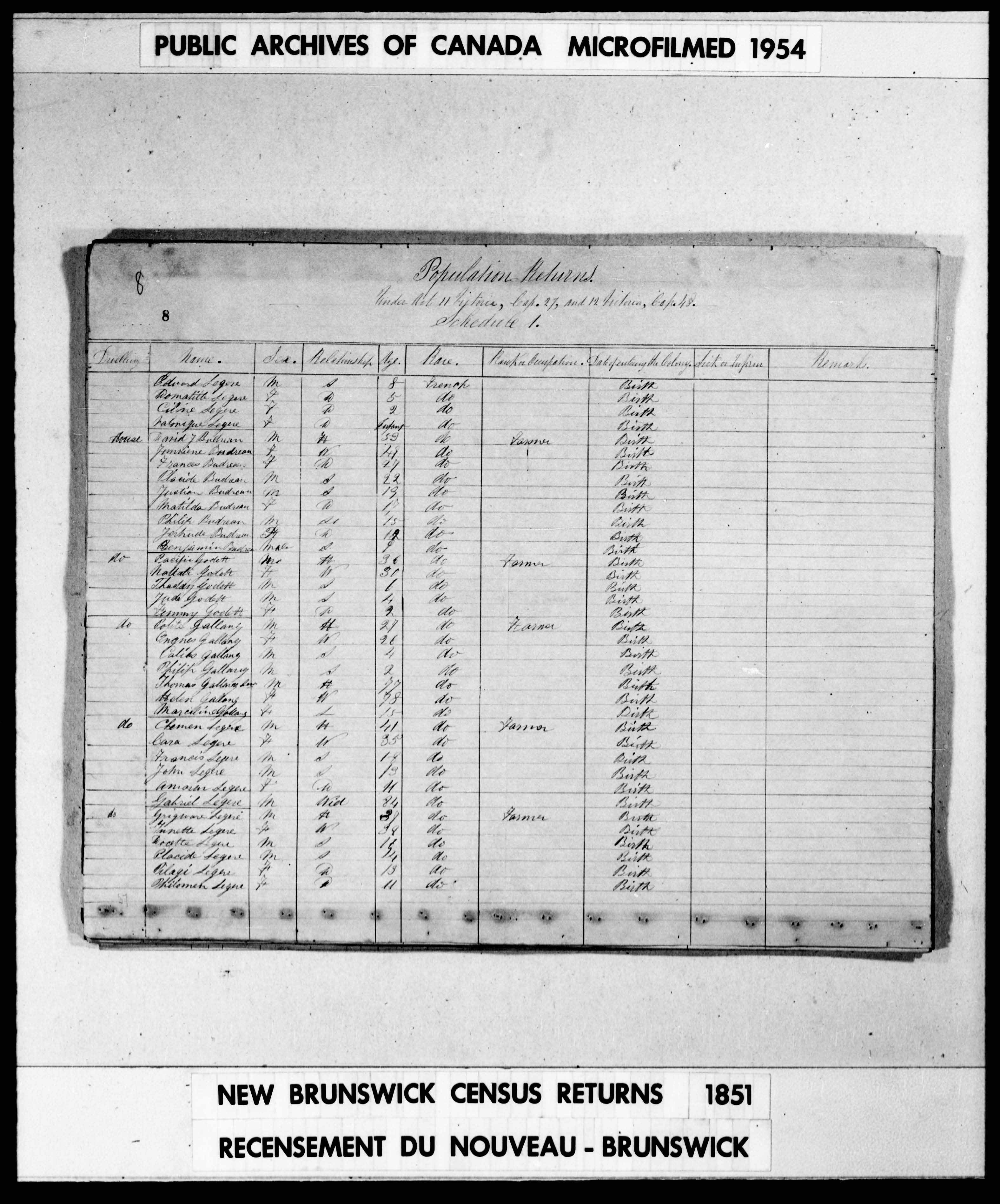 Digitized page of Census of 1851 (Canada East, Canada West, New Brunswick and Nova Scotia), Page number 8, for Clemen Legere