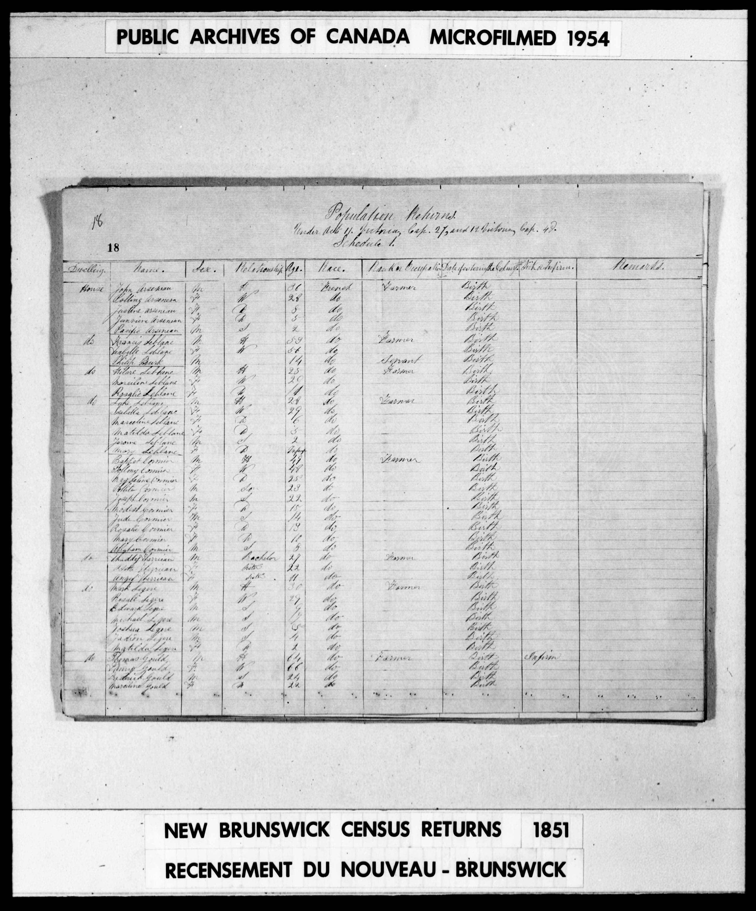 Digitized page of Census of 1851 (Canada East, Canada West, New Brunswick and Nova Scotia), Page number 18, for Mark Legere