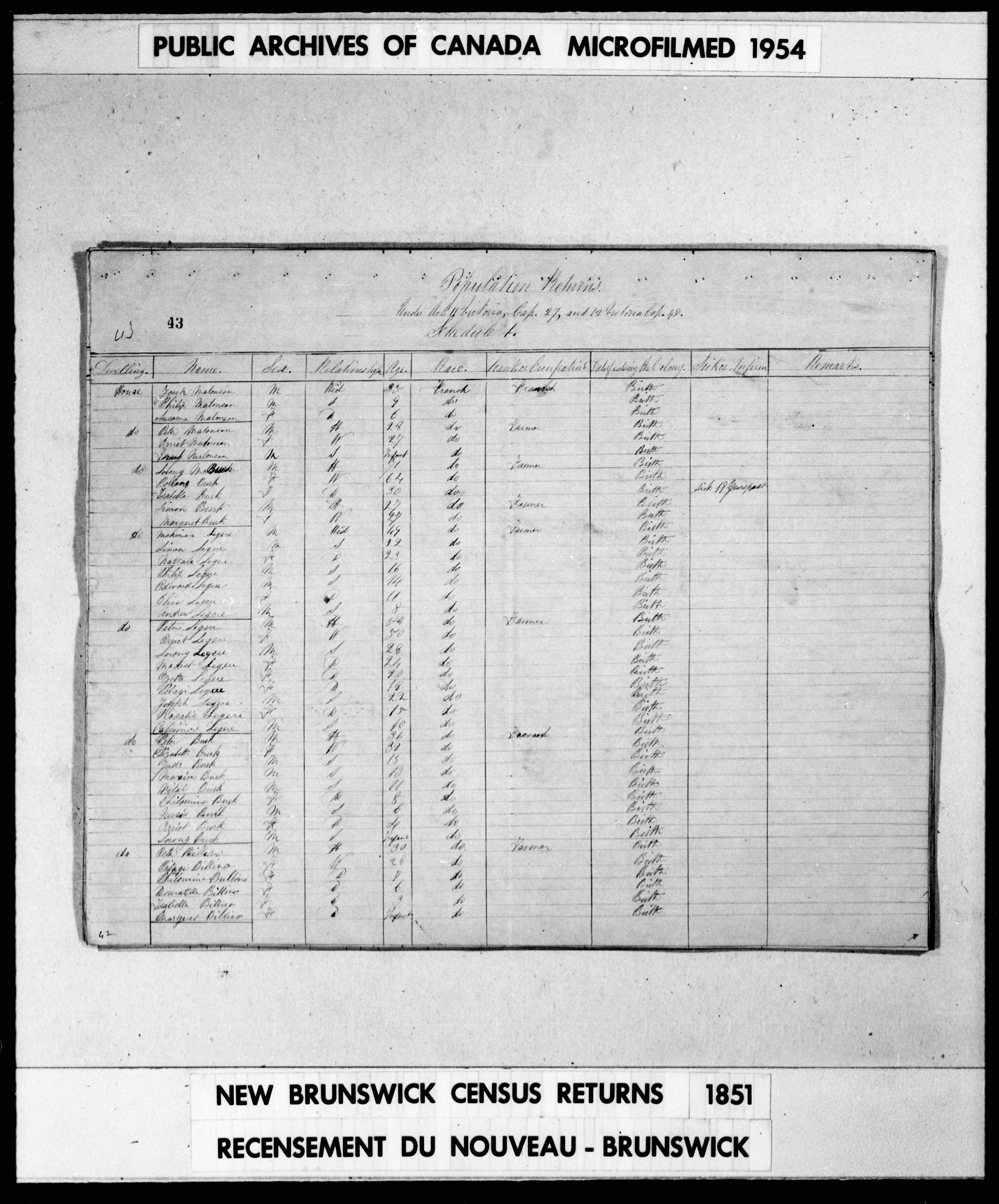 Digitized page of Census of 1851 (Canada East, Canada West, New Brunswick and Nova Scotia), Page number 43, for Makiman Legere