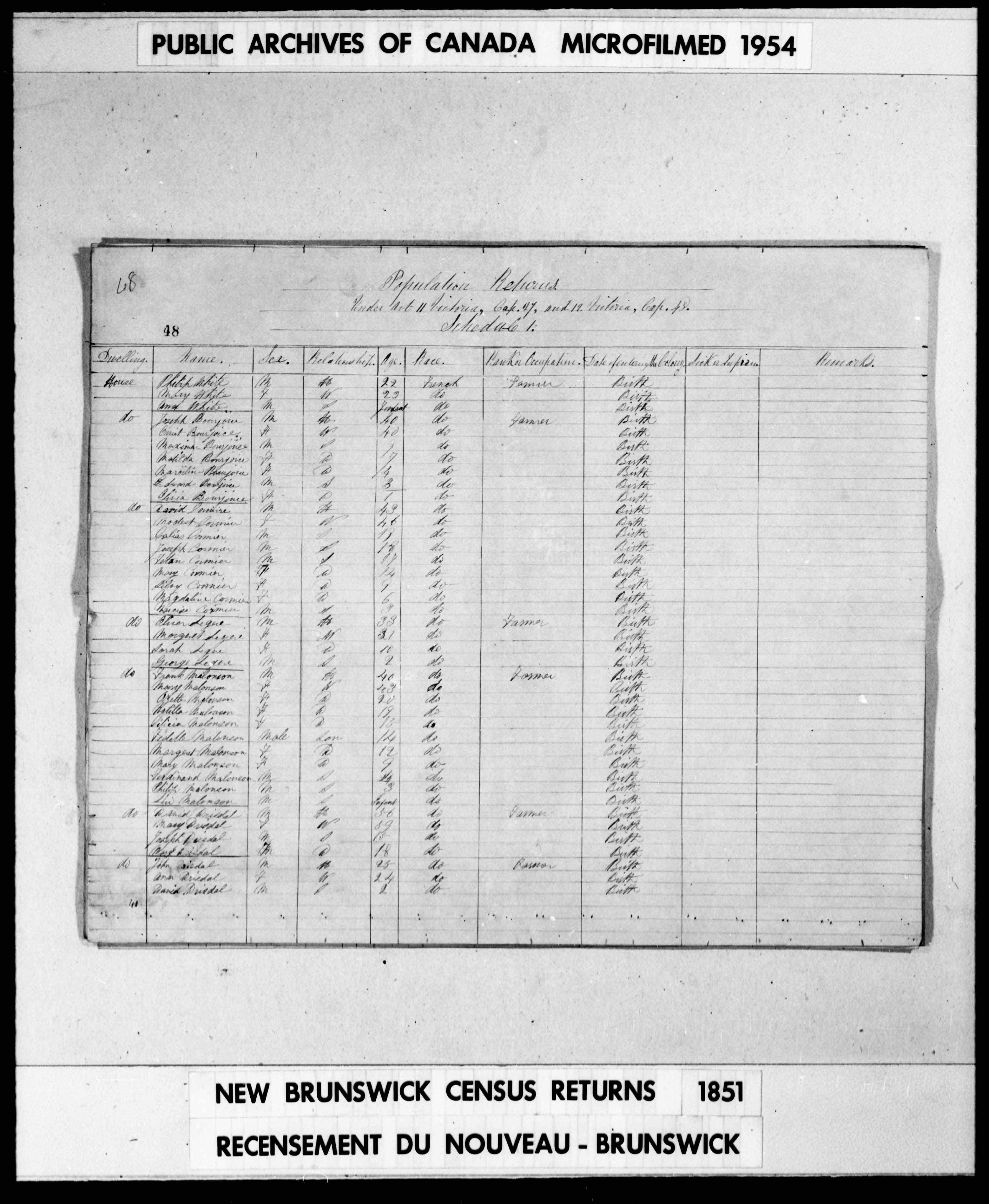 Digitized page of Census of 1851 (Canada East, Canada West, New Brunswick and Nova Scotia), Page number 48, for David Cormier