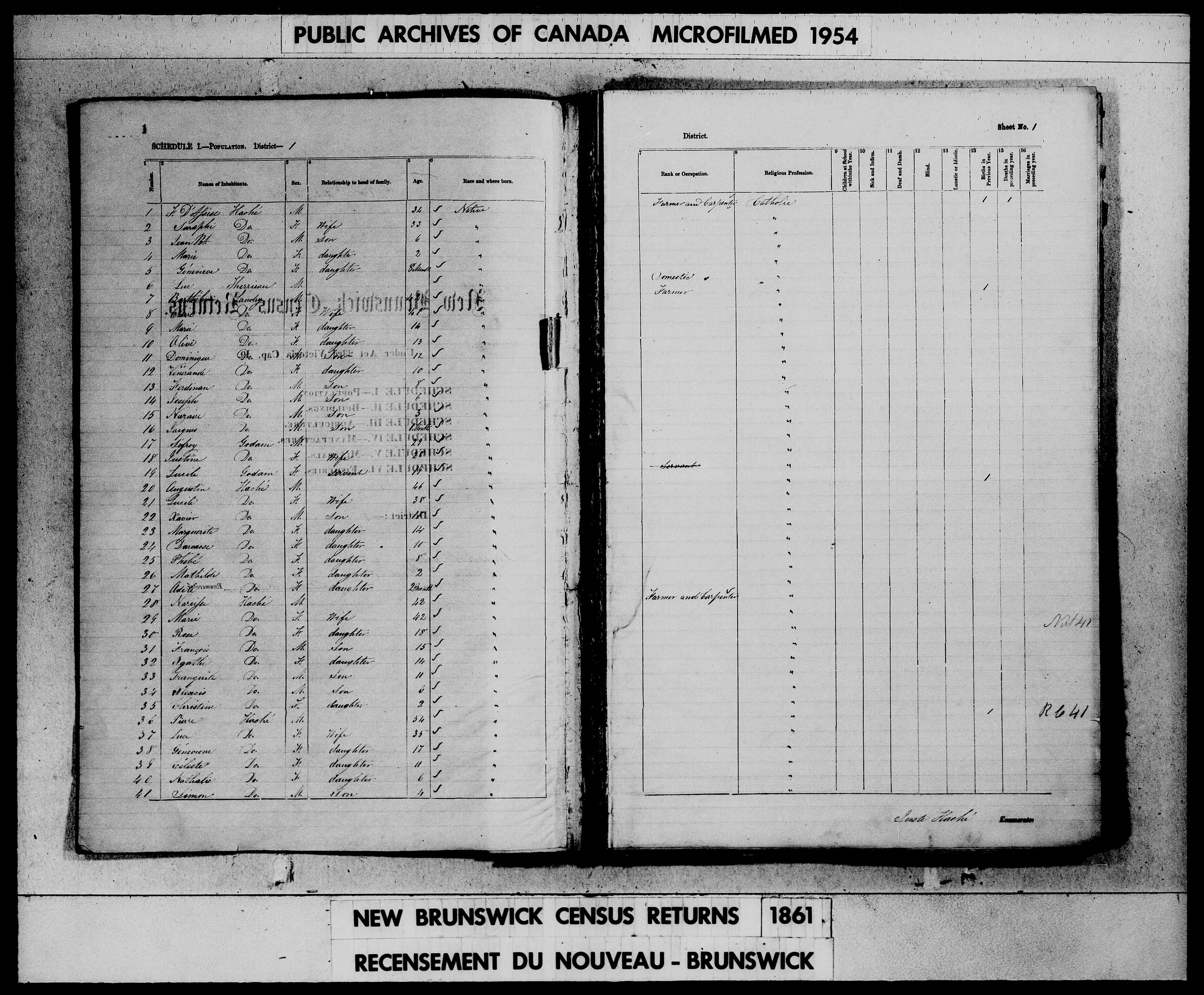 Digitized page of Census of 1861 (Canada East, Canada West, Prince Edward Island, New Brunswick and Nova Scotia), Page number 1, for Berthelieu Landry