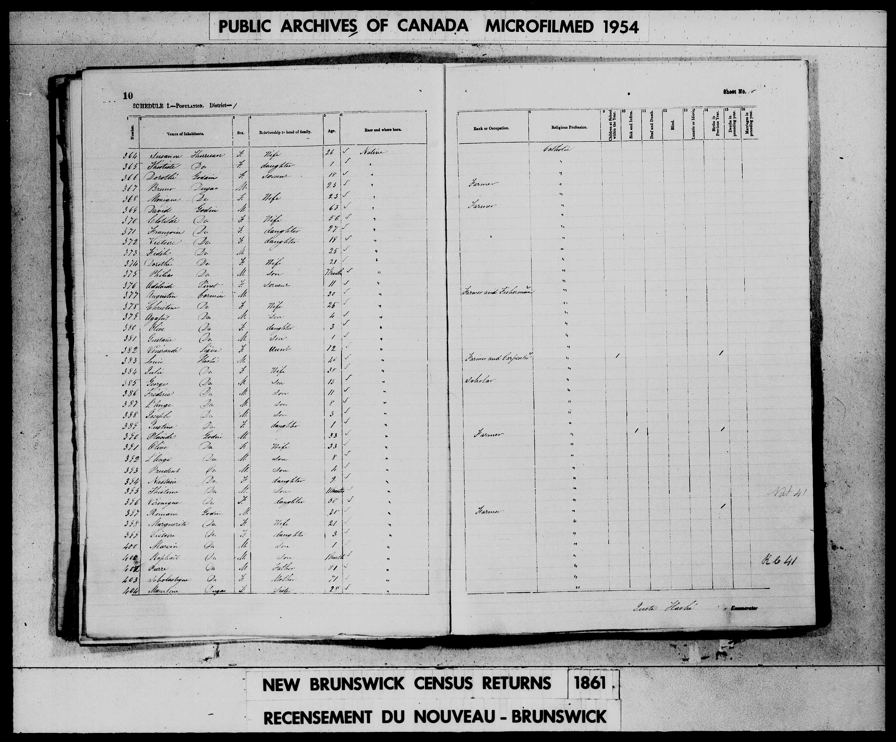 Digitized page of Census of 1861 (Canada East, Canada West, Prince Edward Island, New Brunswick and Nova Scotia), Page number 10, for Augustin Cormier