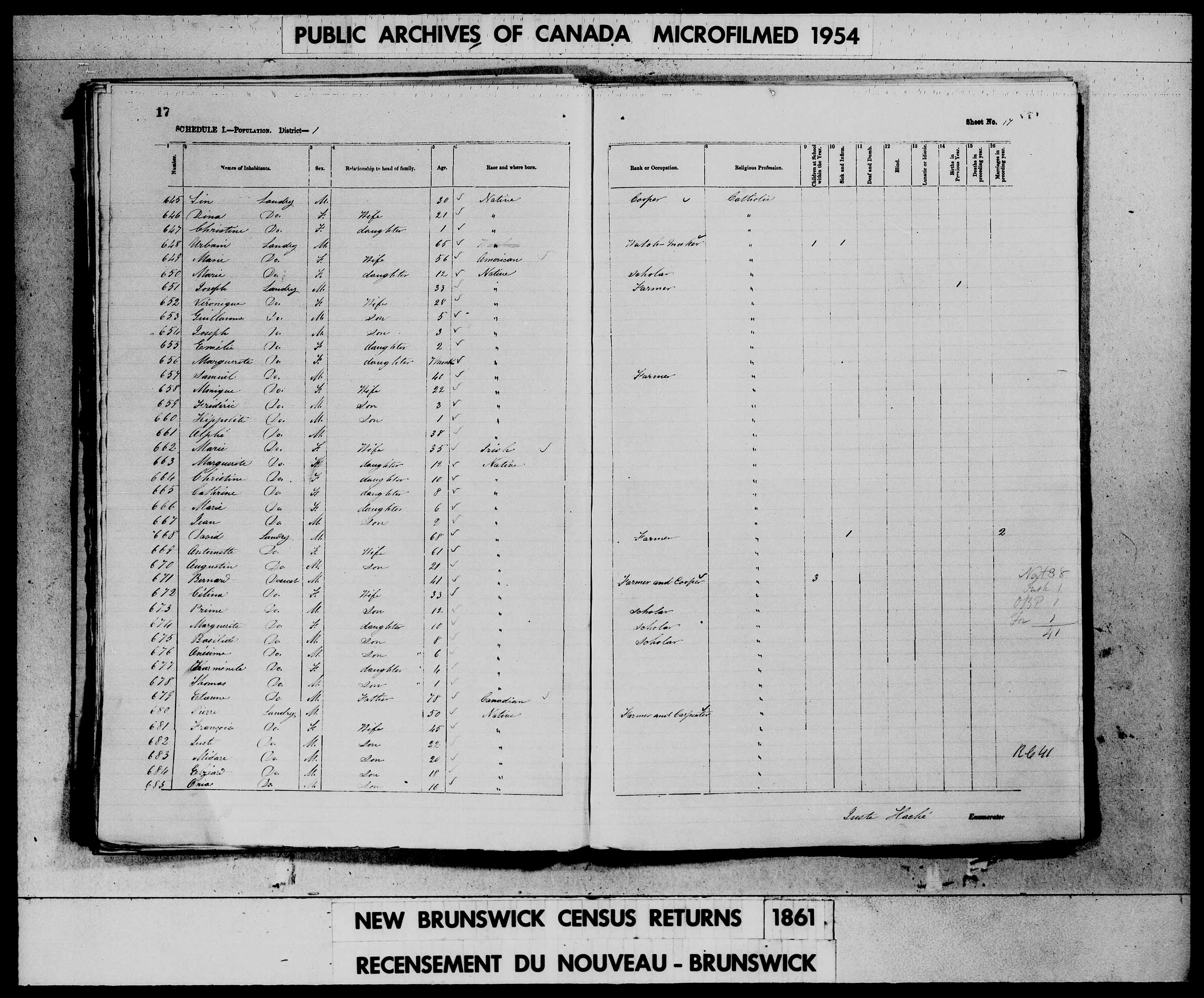 Digitized page of Census of 1861 (Canada East, Canada West, Prince Edward Island, New Brunswick and Nova Scotia), Page number 17, for Bernard Doucet