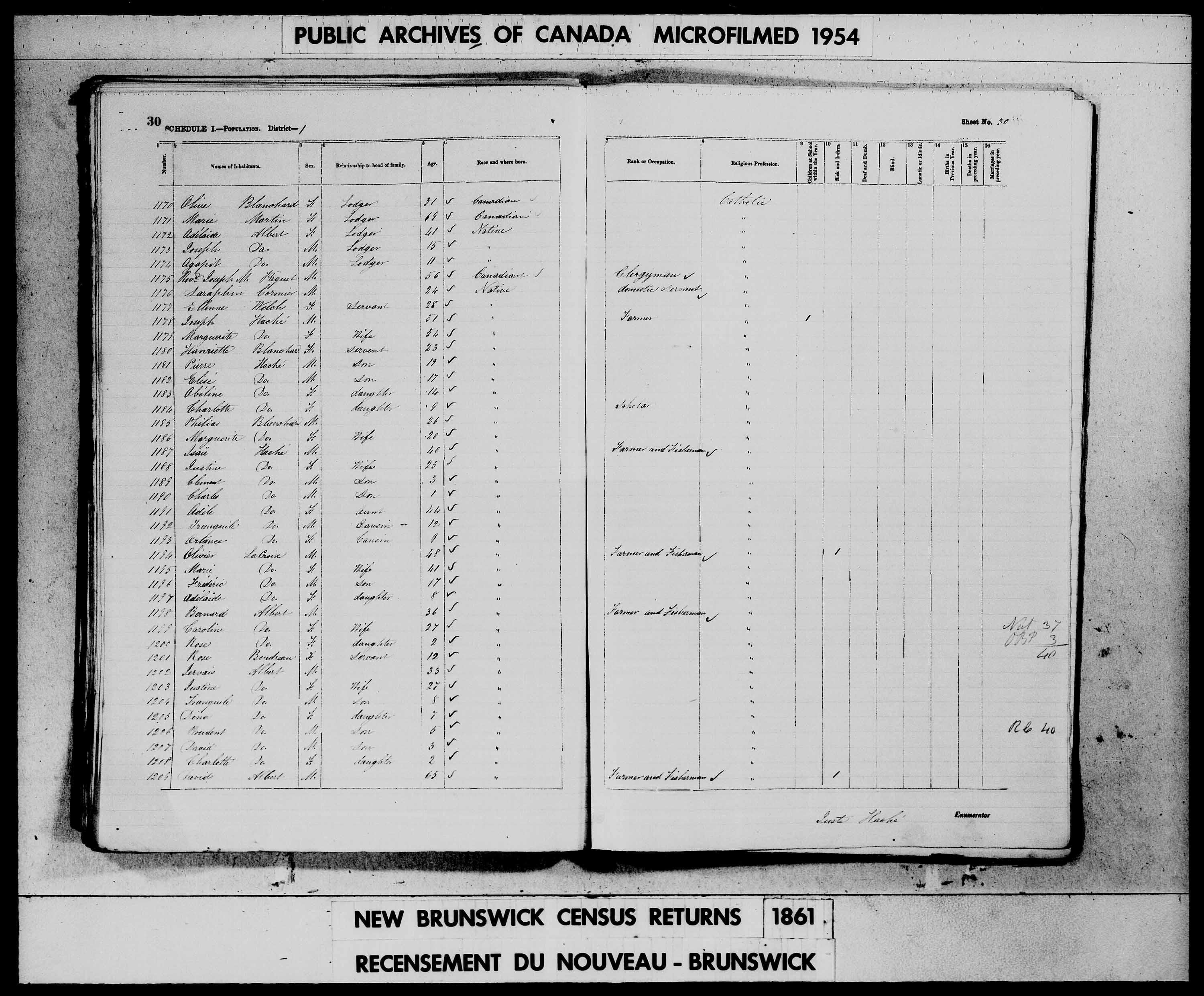 Digitized page of Census of 1861 (Canada East, Canada West, Prince Edward Island, New Brunswick and Nova Scotia), Page number 30, for Bernard Albert