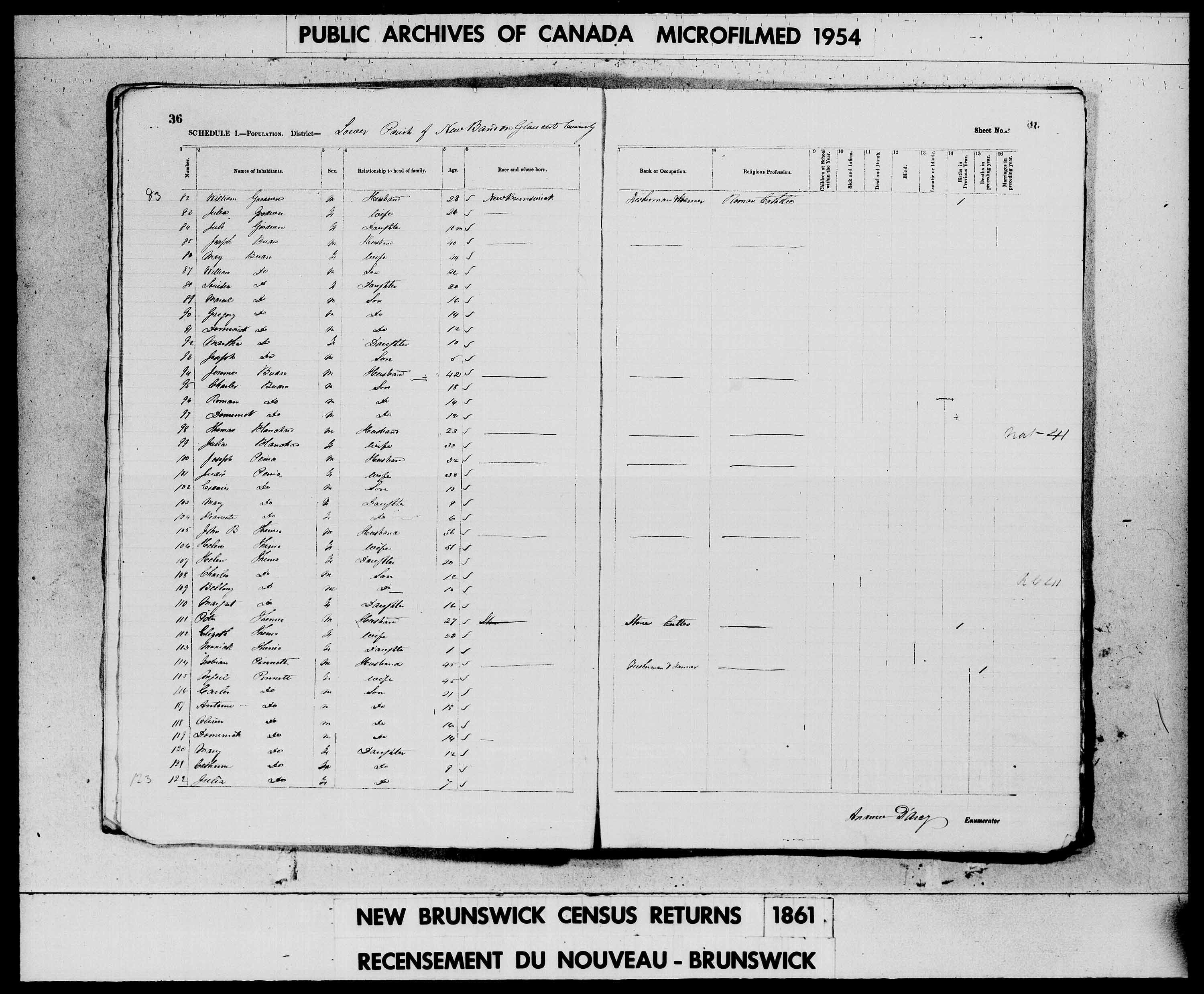 Digitized page of Census of 1861 (Canada East, Canada West, Prince Edward Island, New Brunswick and Nova Scotia), Page number 36, for Fabian Pinnett
