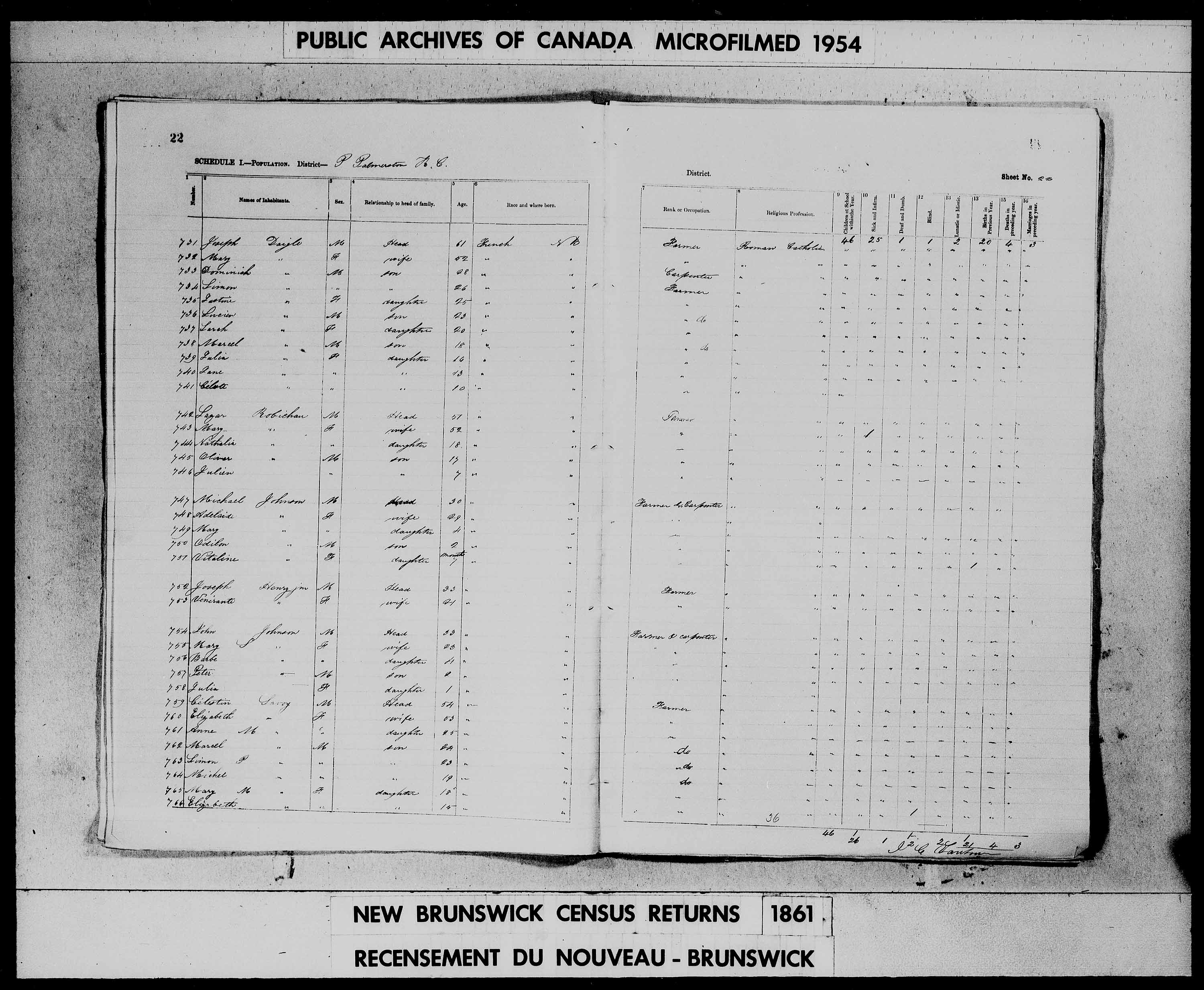 Digitized page of Census of 1861 (Canada East, Canada West, Prince Edward Island, New Brunswick and Nova Scotia), Page number 22, for Celestin Savoy