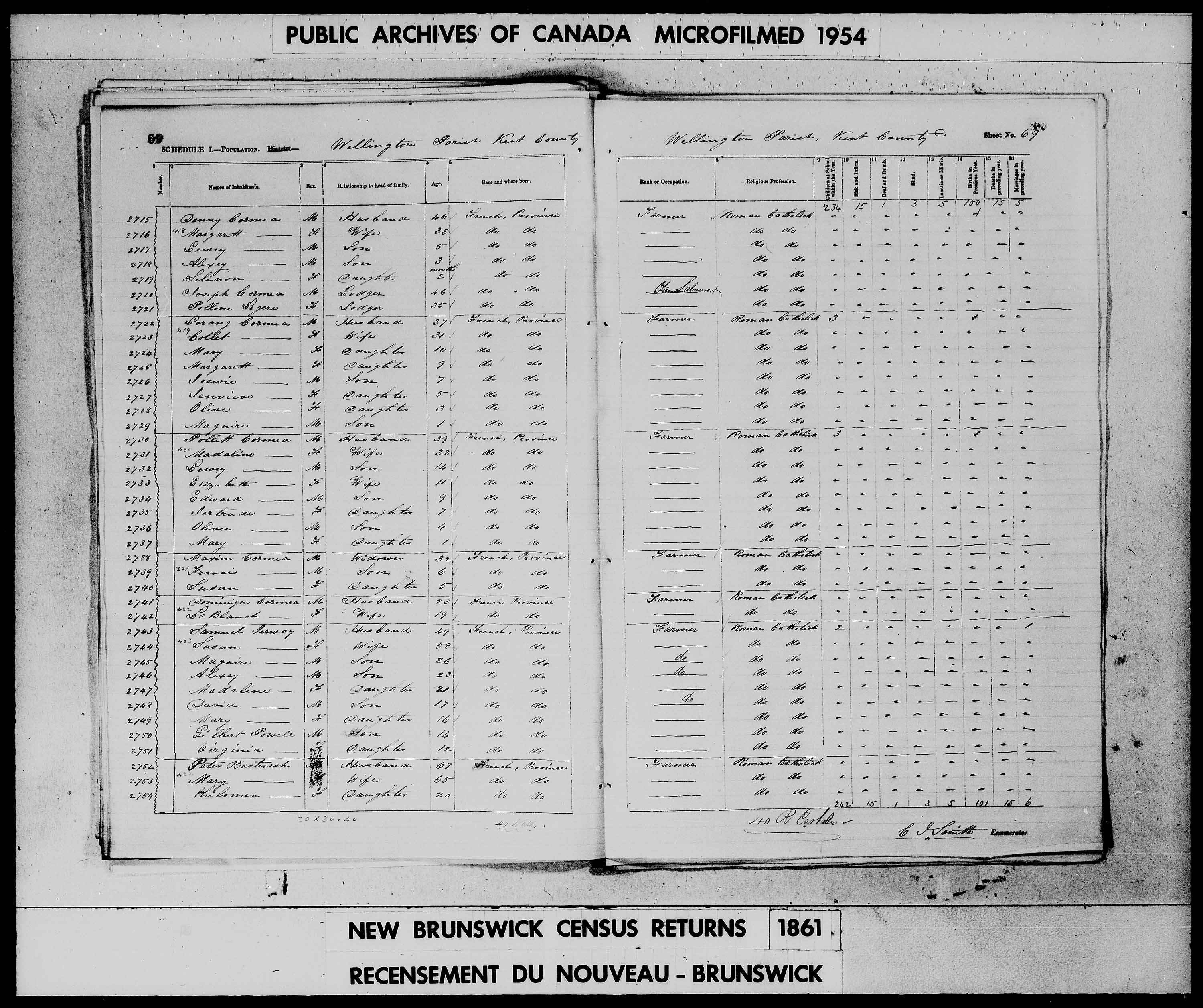 Digitized page of Census of 1861 (Canada East, Canada West, Prince Edward Island, New Brunswick and Nova Scotia), Page number 69, for Denny Cormea