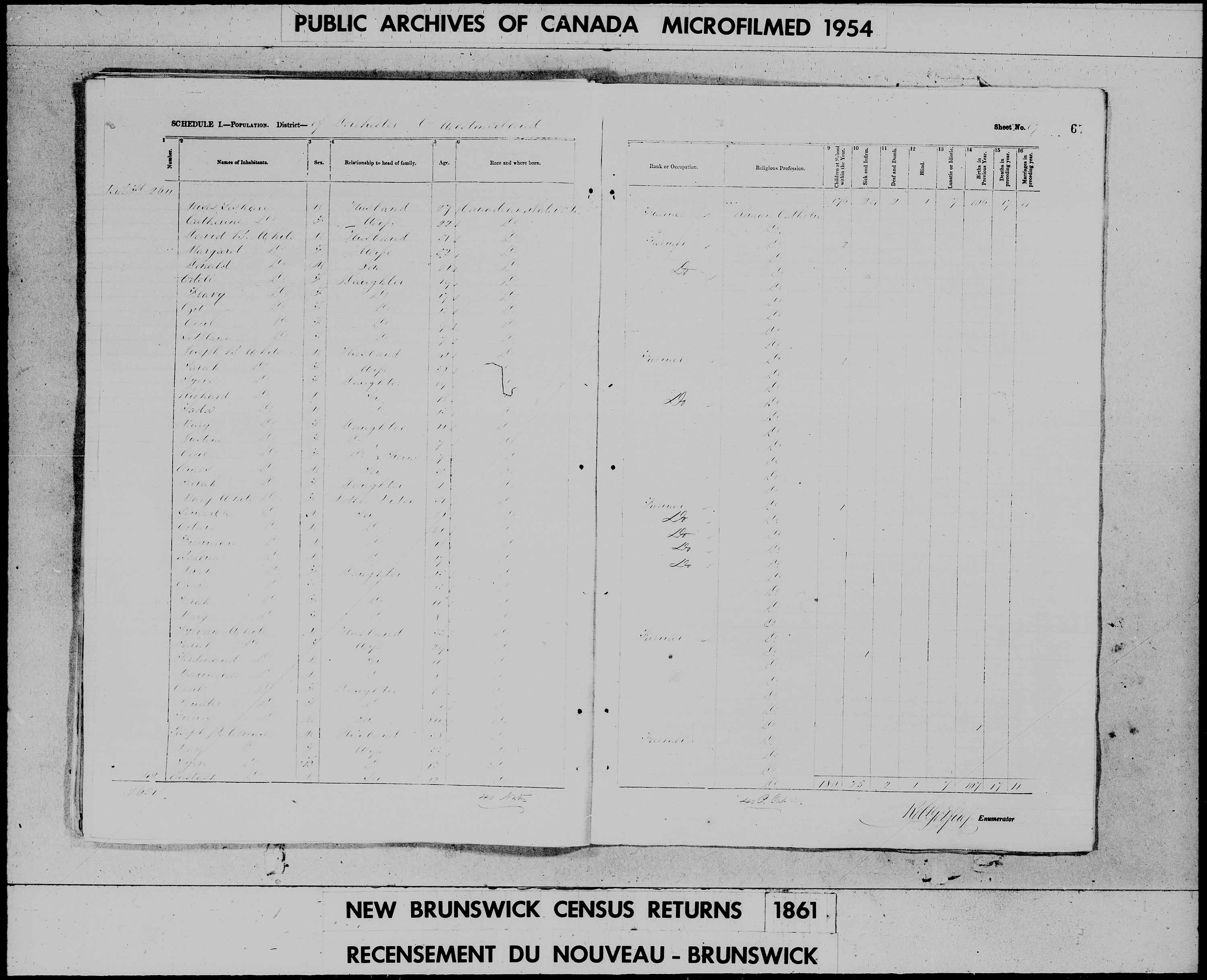 Digitized page of Census of 1861 (Canada East, Canada West, Prince Edward Island, New Brunswick and Nova Scotia), Page number 67, for David B White