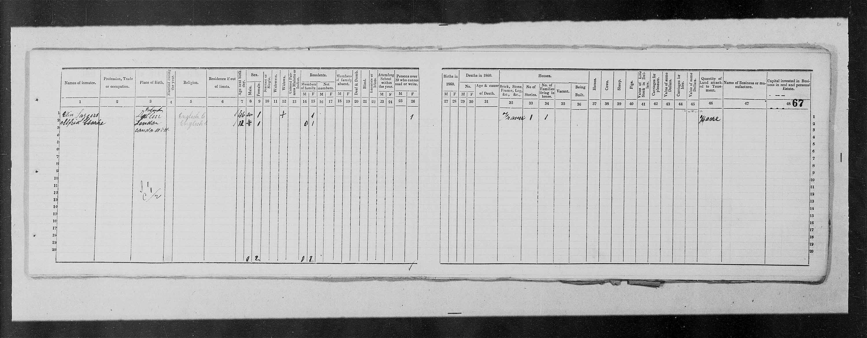 Digitized page of Census of 1861 (Canada East, Canada West, Prince Edward Island, New Brunswick and Nova Scotia), Page number 67, for Sophia Clarke