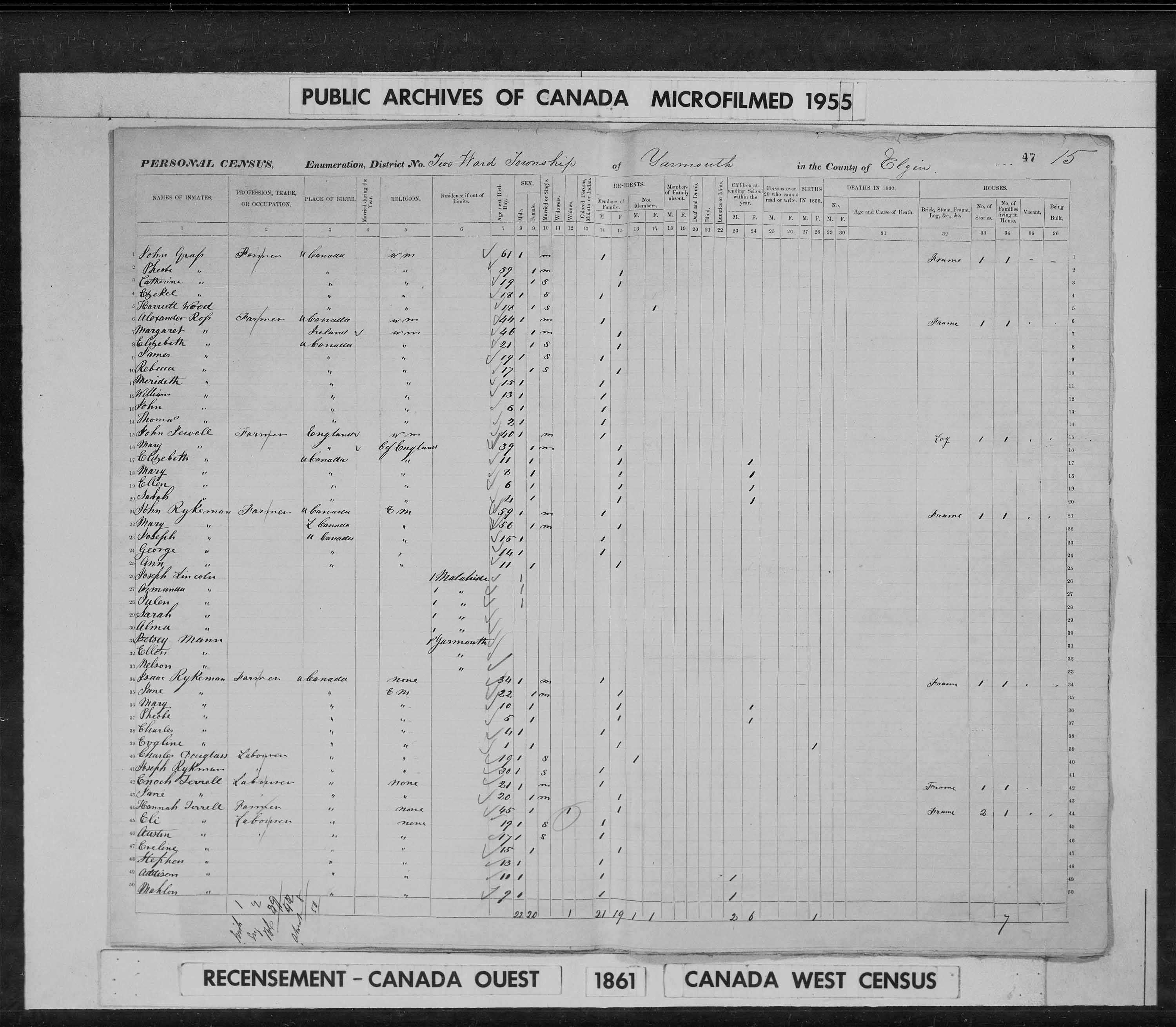 Digitized page of Census of 1861 (Canada East, Canada West, Prince Edward Island, New Brunswick and Nova Scotia), Page number 47, for Austin Terrell