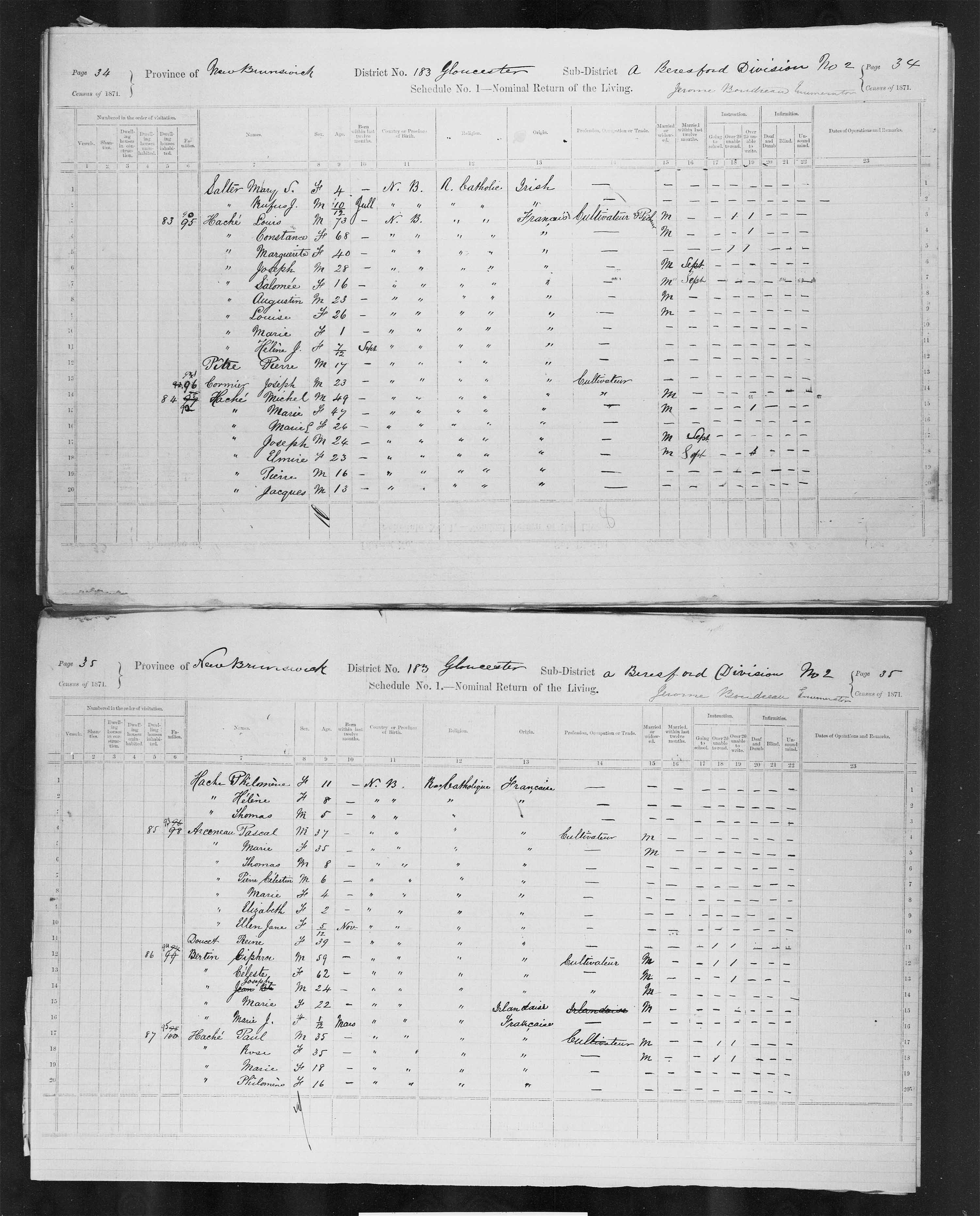 Digitized page of Census of Canada, 1871, Page number 34, for Michel Haché