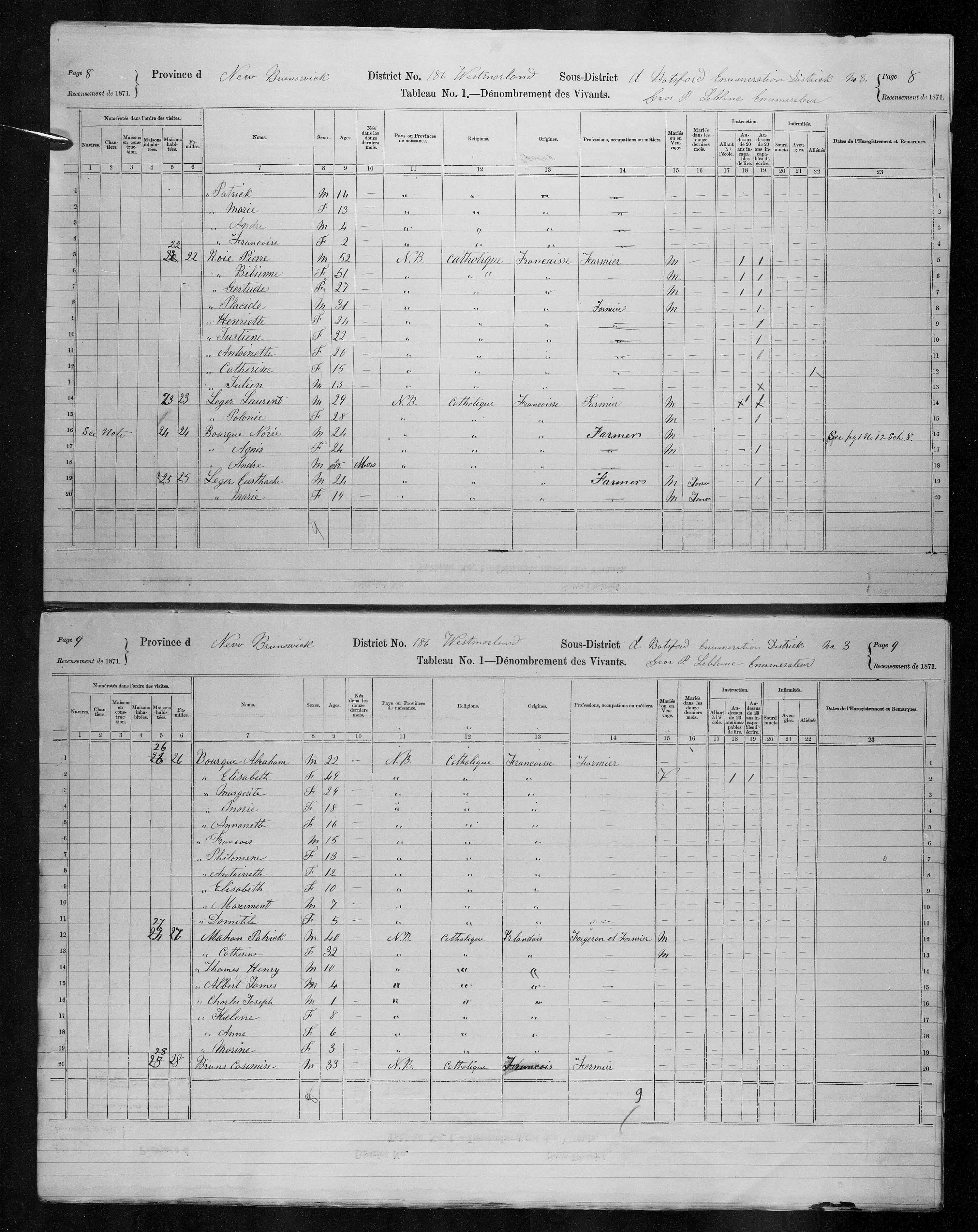 Digitized page of Census of Canada, 1871, Page number 8, for Noree Bourque