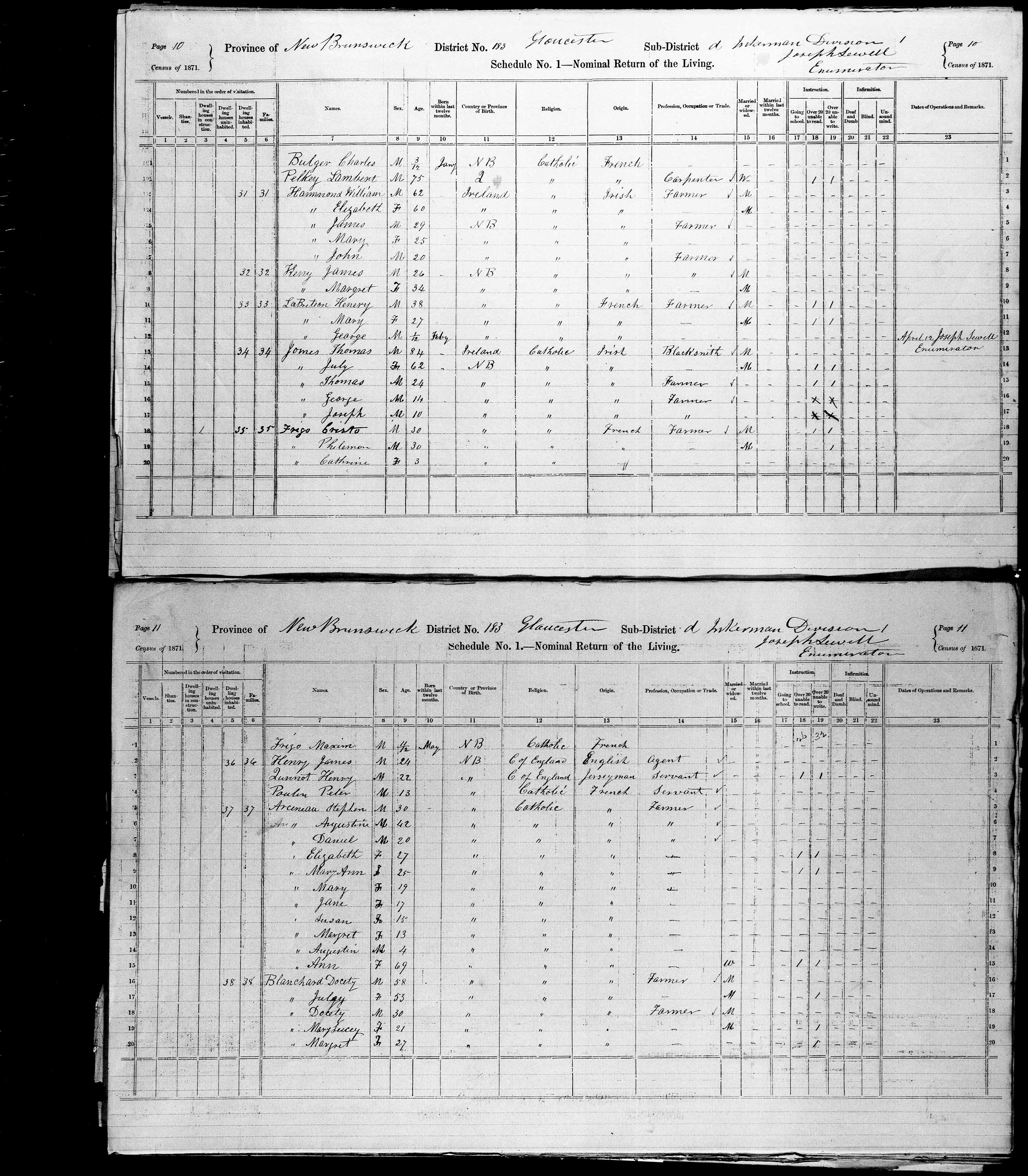 Digitized page of Census of Canada, 1871, Page number 11, for Docety Blanchard