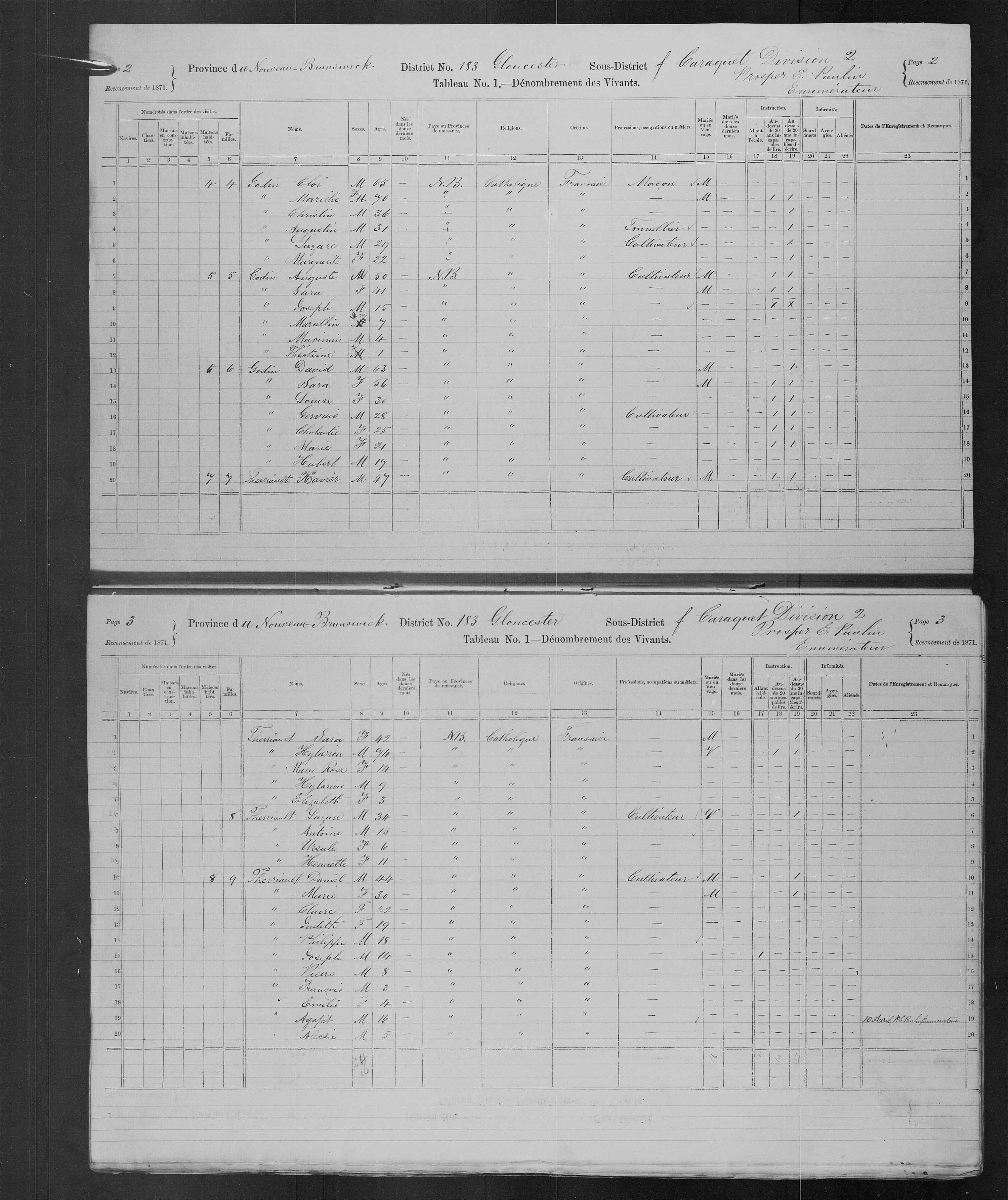 Digitized page of Census of Canada, 1871, Page number 2, for Xavier Therriault