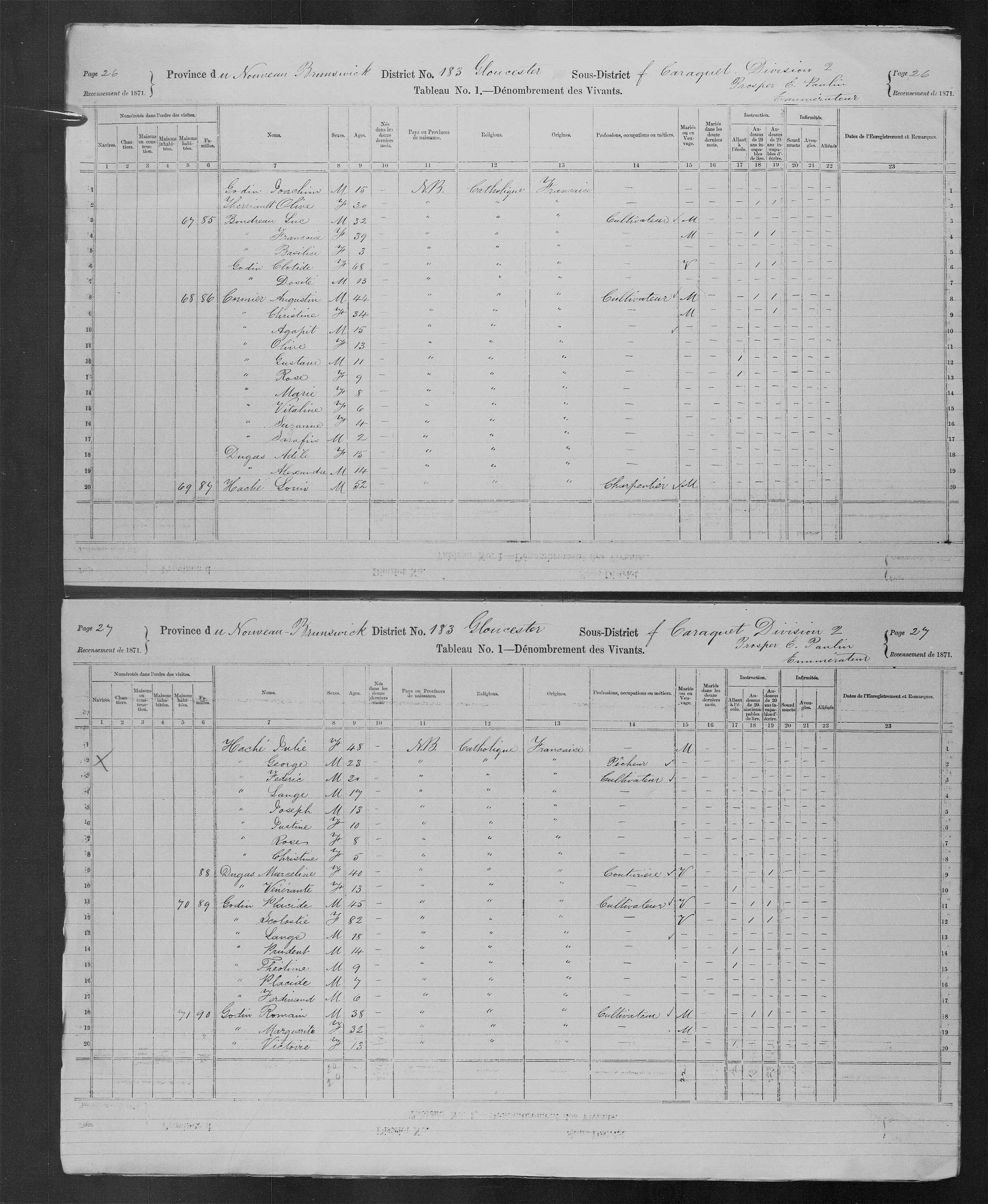 Digitized page of Census of Canada, 1871, Page number 26, for Augustin Cormier