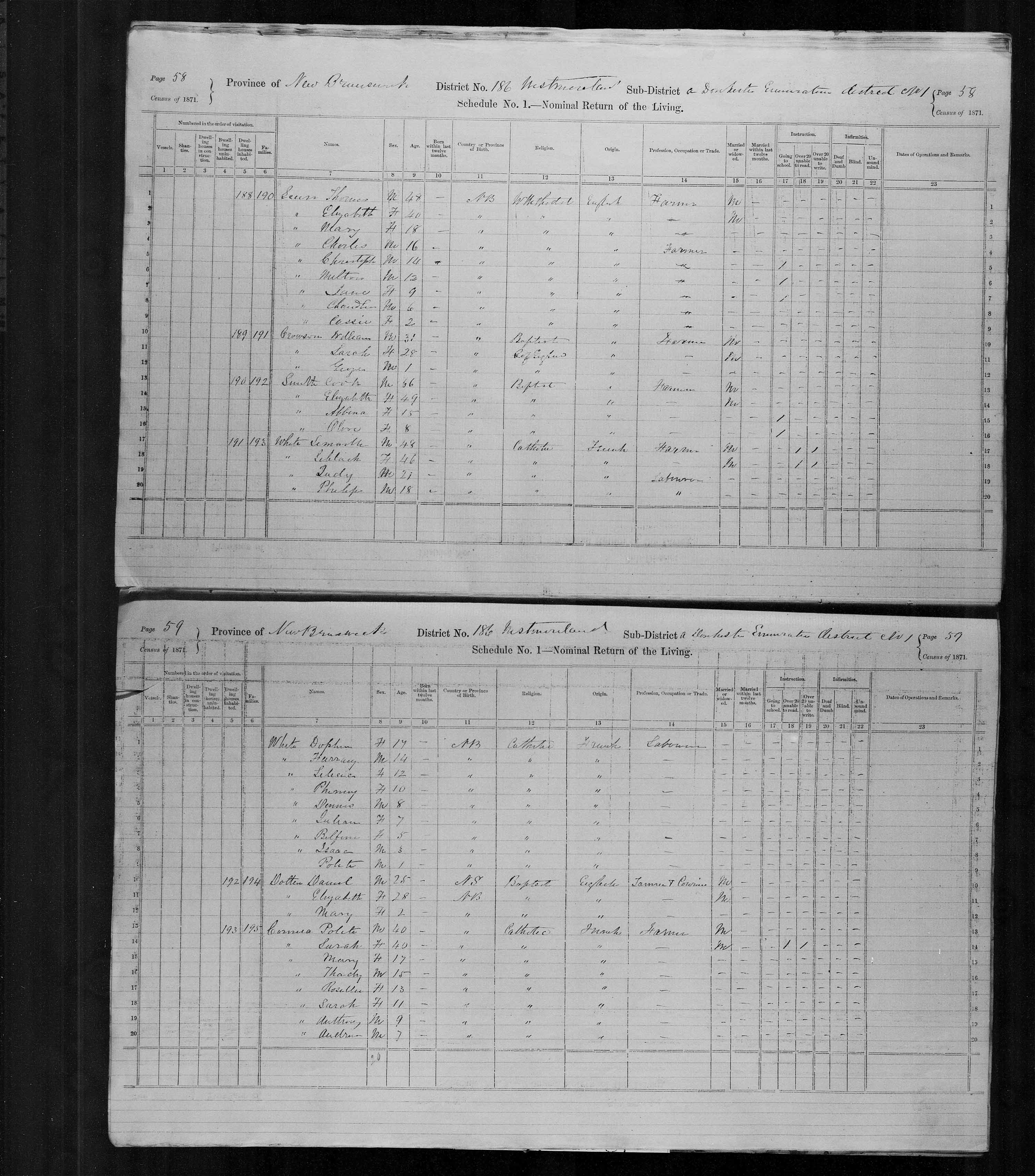 Digitized page of Census of Canada, 1871, Page number 59, for Polete Cormea