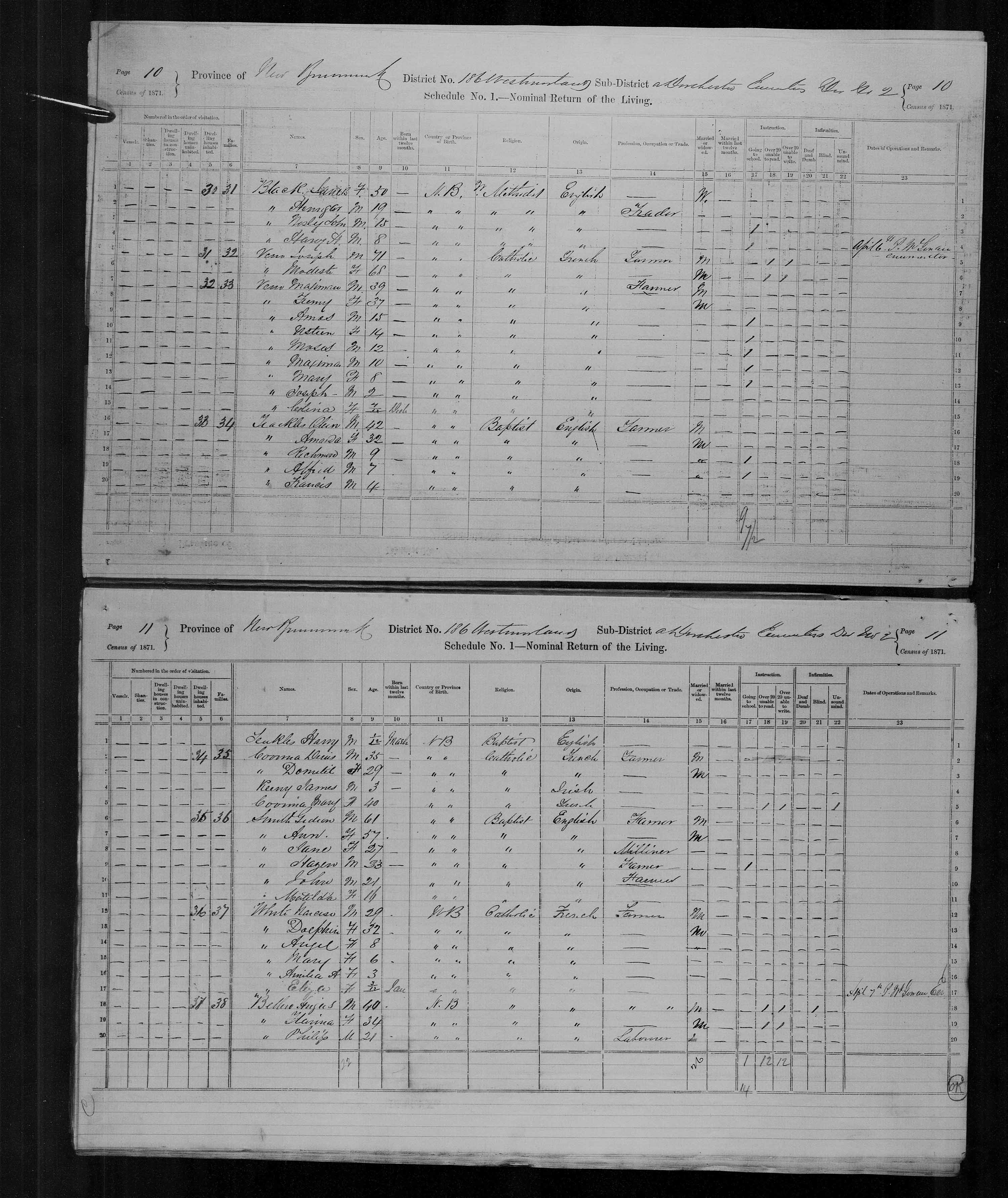 Digitized page of Census of Canada, 1871, Page number 10, for Maximan Veno