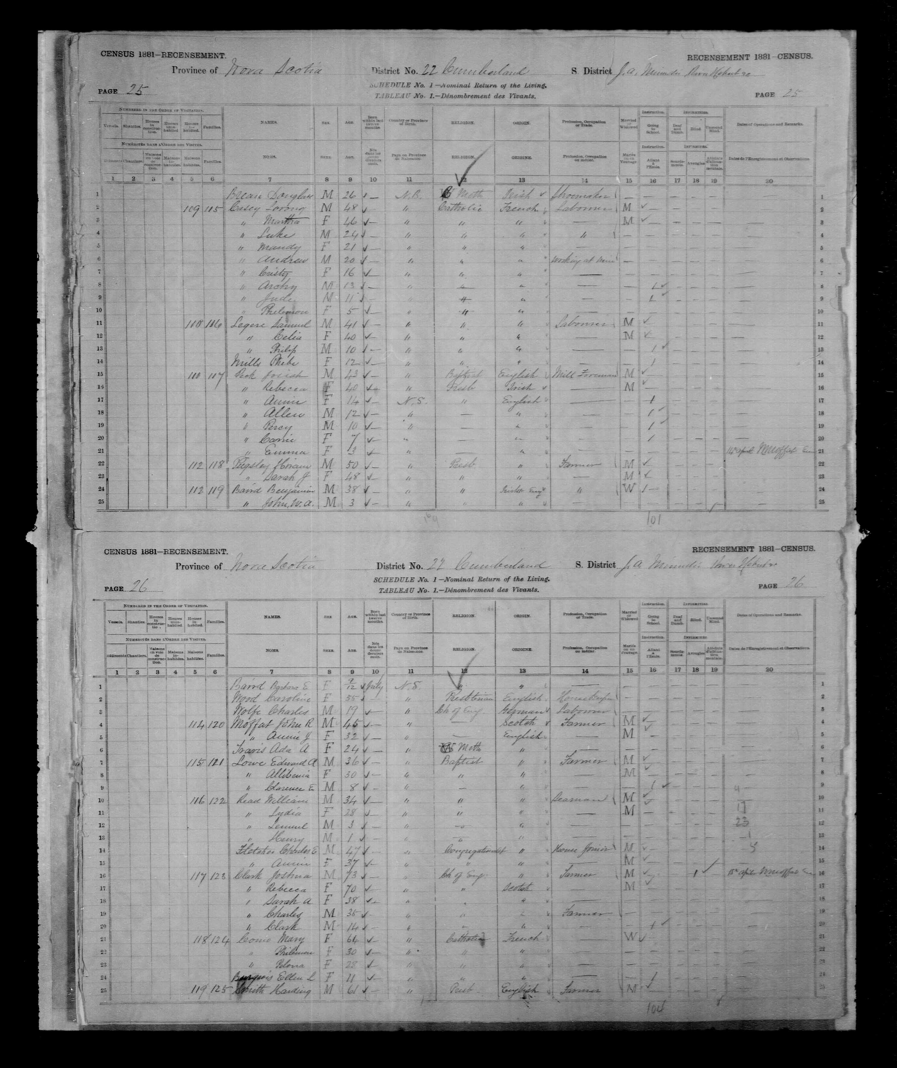 Digitized page of Census of Canada, 1881, Page number 25, for Samuel LEGERE