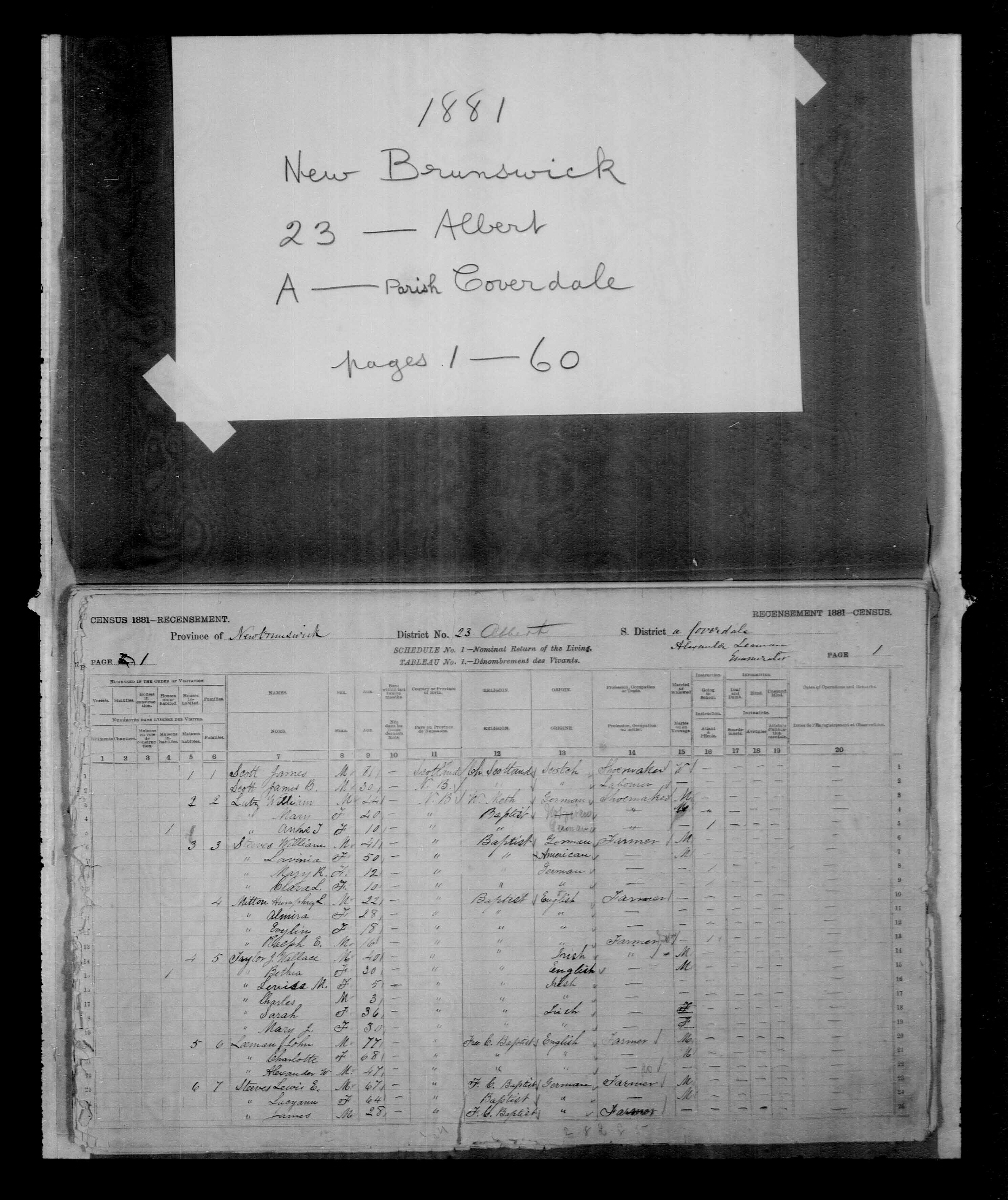 Digitized page of Census of Canada, 1881, Page number 1, for Ralph E. MITTON