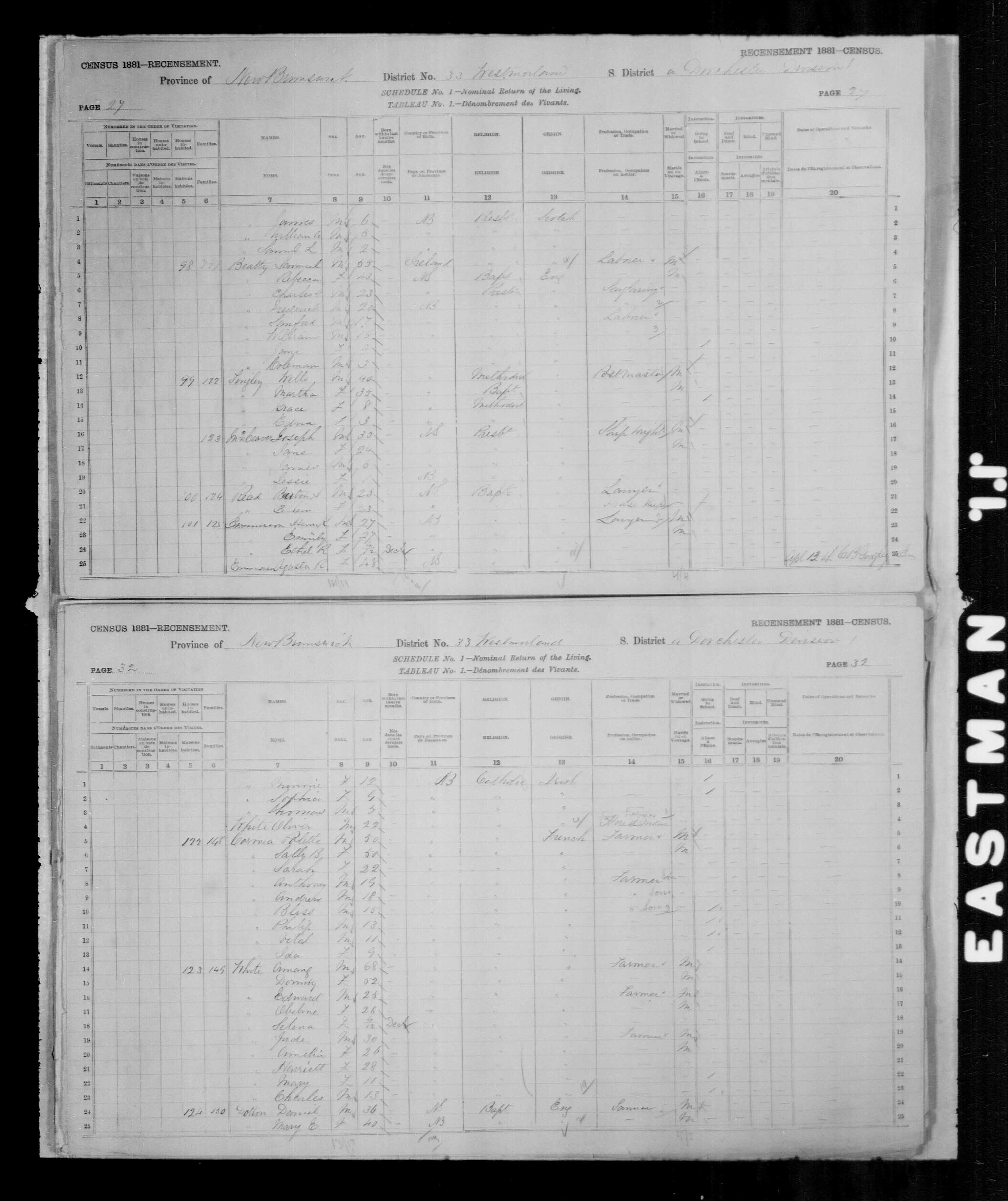 Digitized page of Census of Canada, 1881, Page number 32, for Polette CORMIA