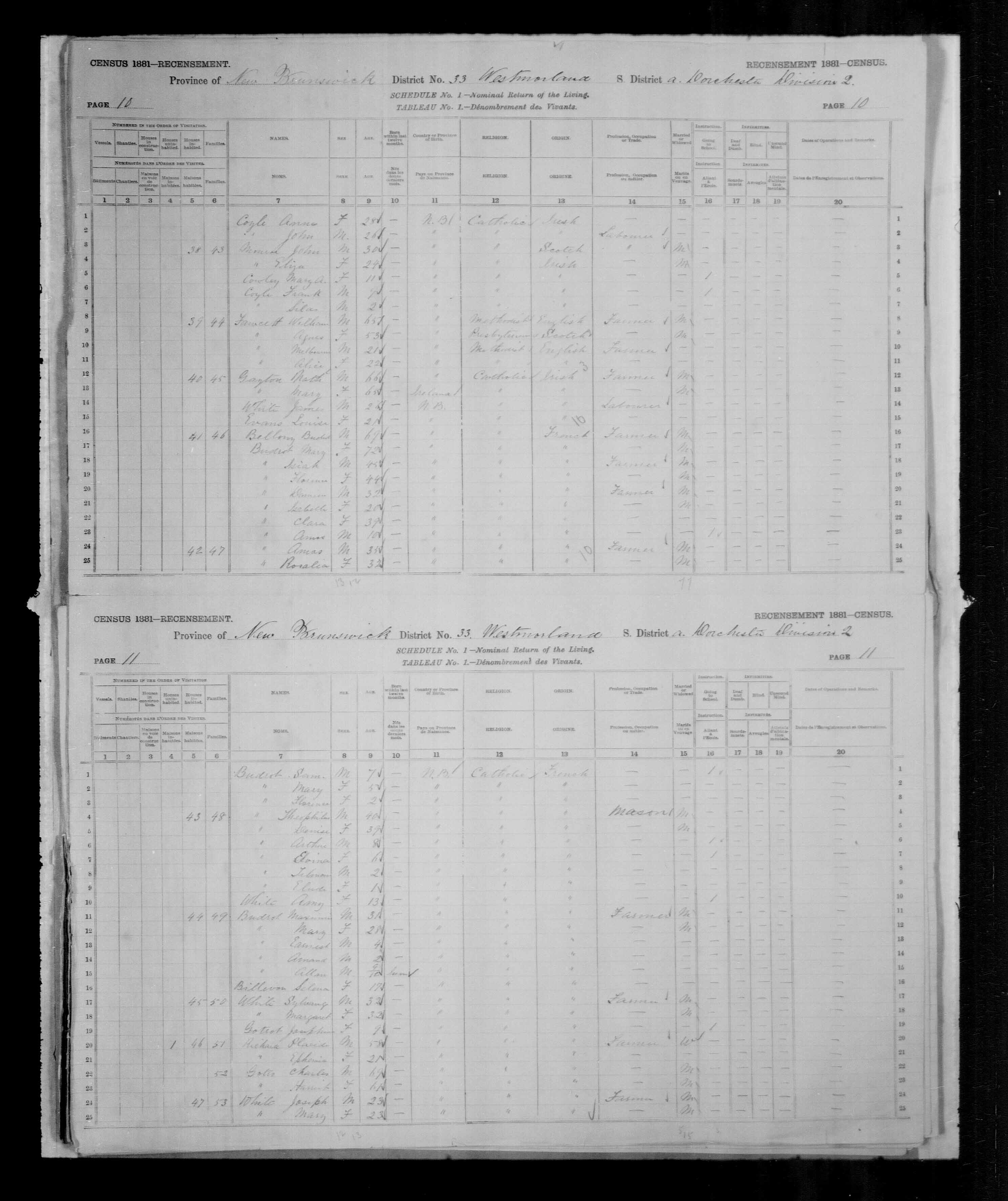 Digitized page of Census of Canada, 1881, Page number 10, for Budent BELLONY