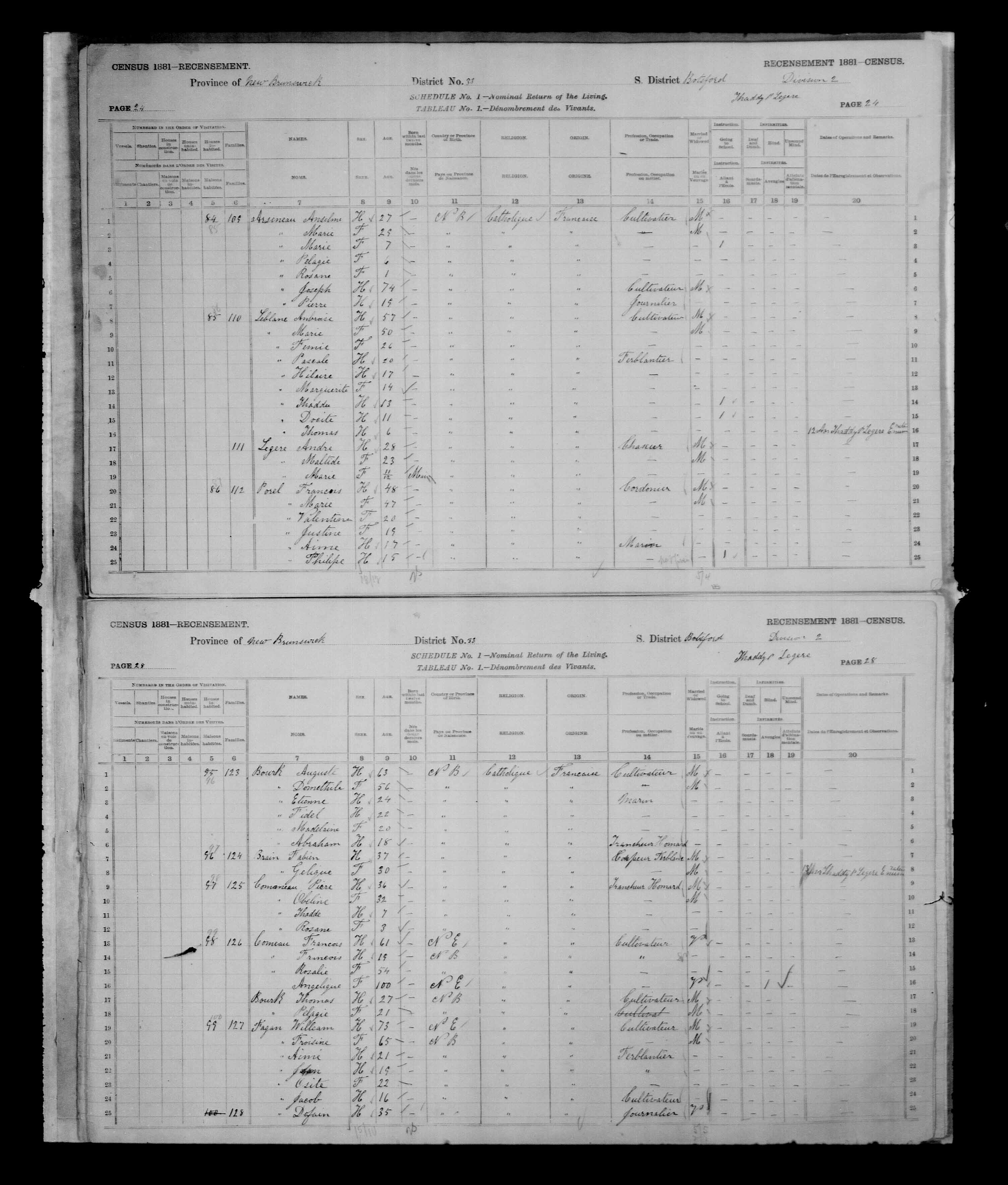 Digitized page of Census of Canada, 1881, Page number 28, for Fabien BRAIN