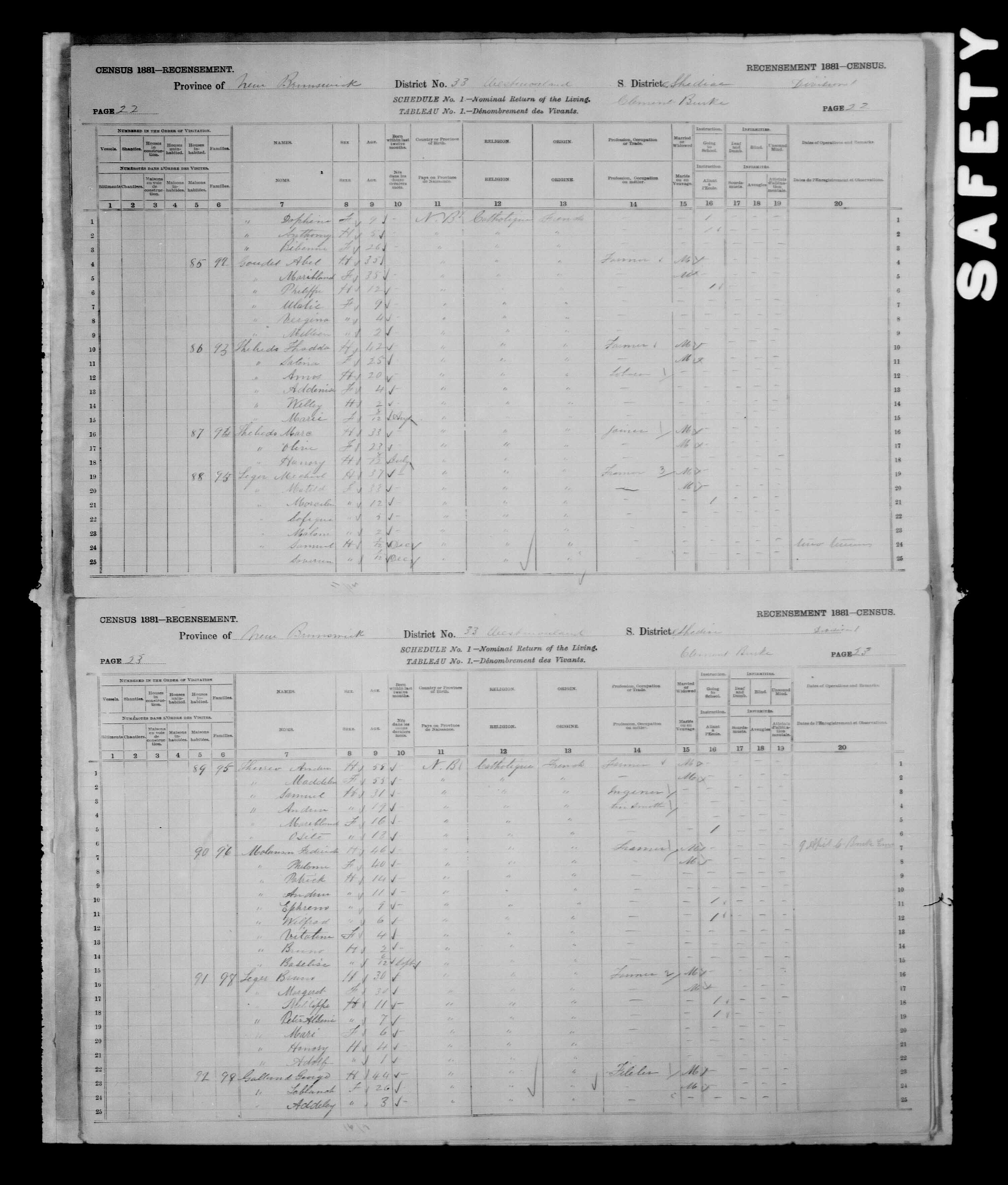 Digitized page of Census of Canada, 1881, Page number 23, for Bruno LEGER