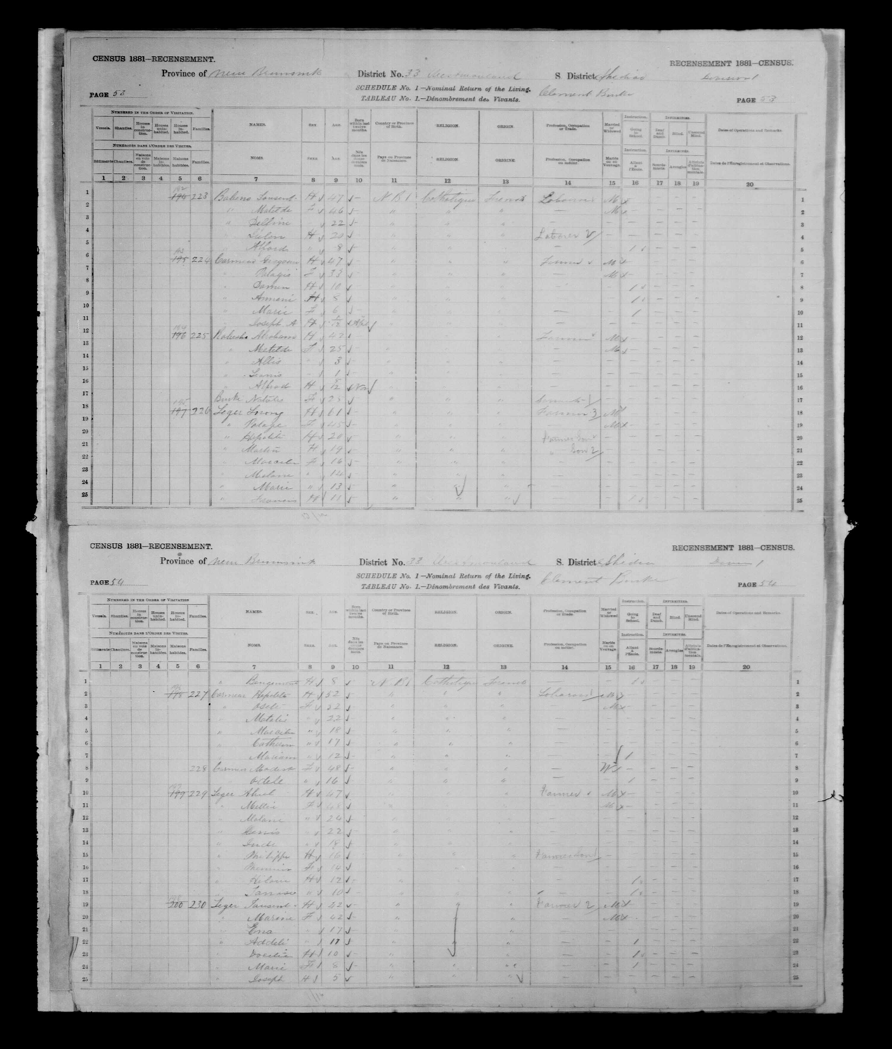 Digitized page of Census of Canada, 1881, Page number 54, for Tausent LEGER