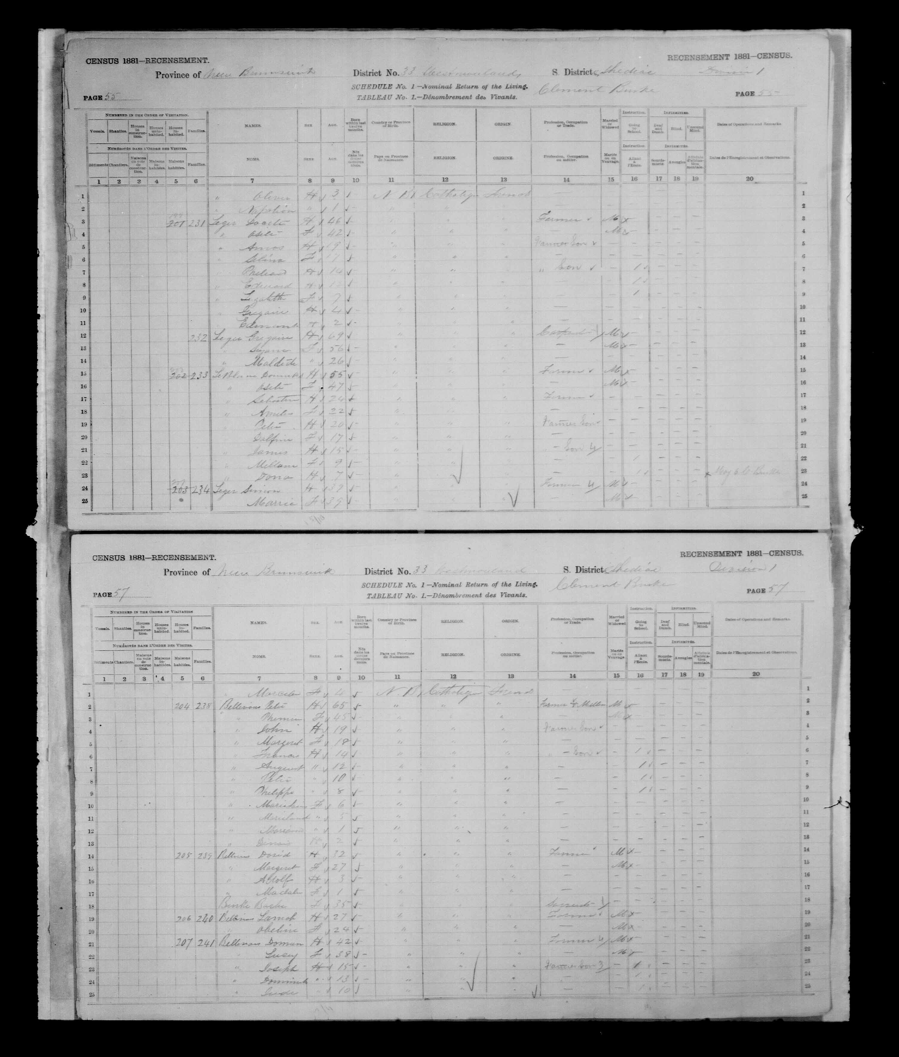 Digitized page of Census of Canada, 1881, Page number 55, for Docite LEGER