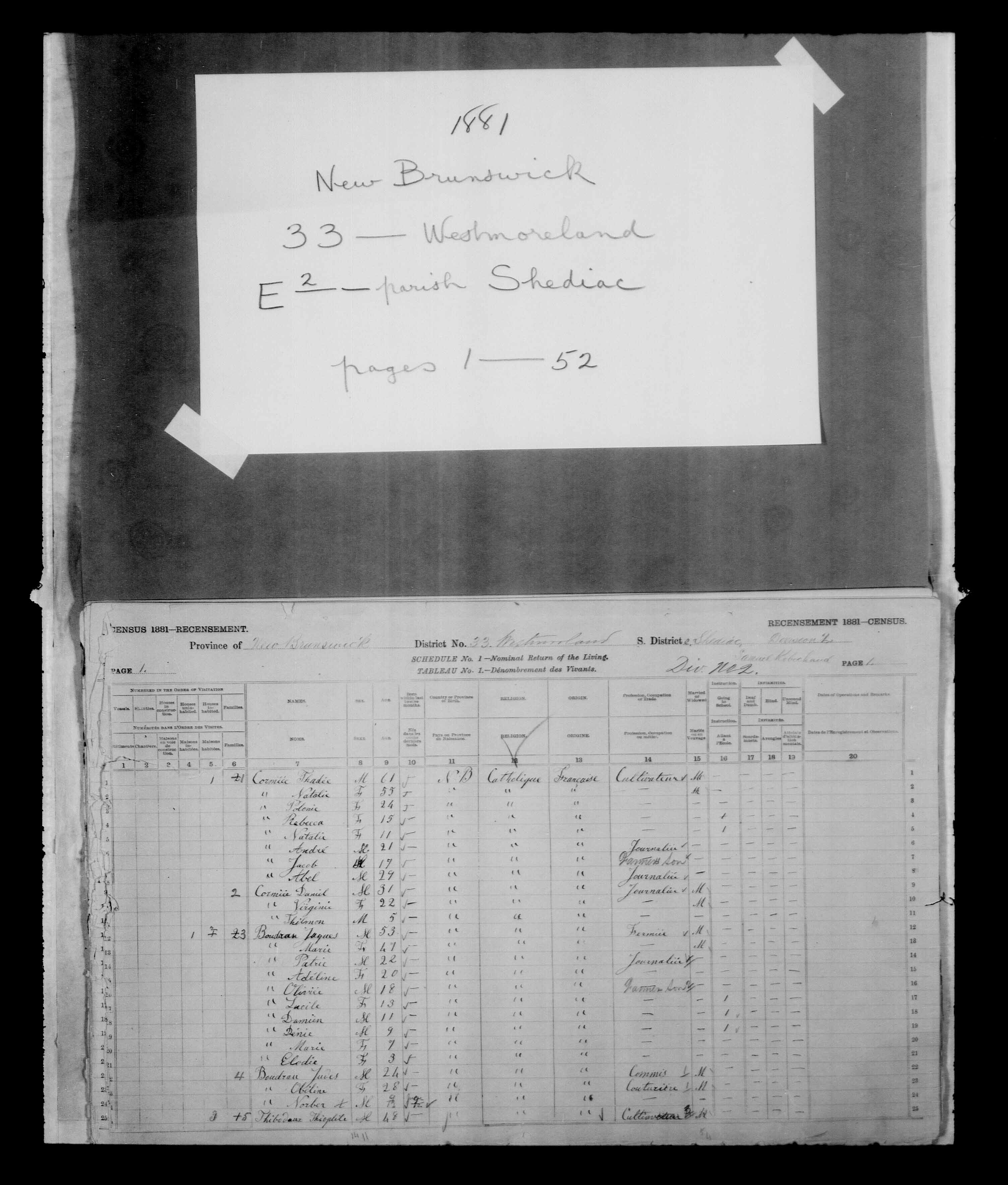 Digitized page of Census of Canada, 1881, Page number 1, for Jacques BOUDRAU