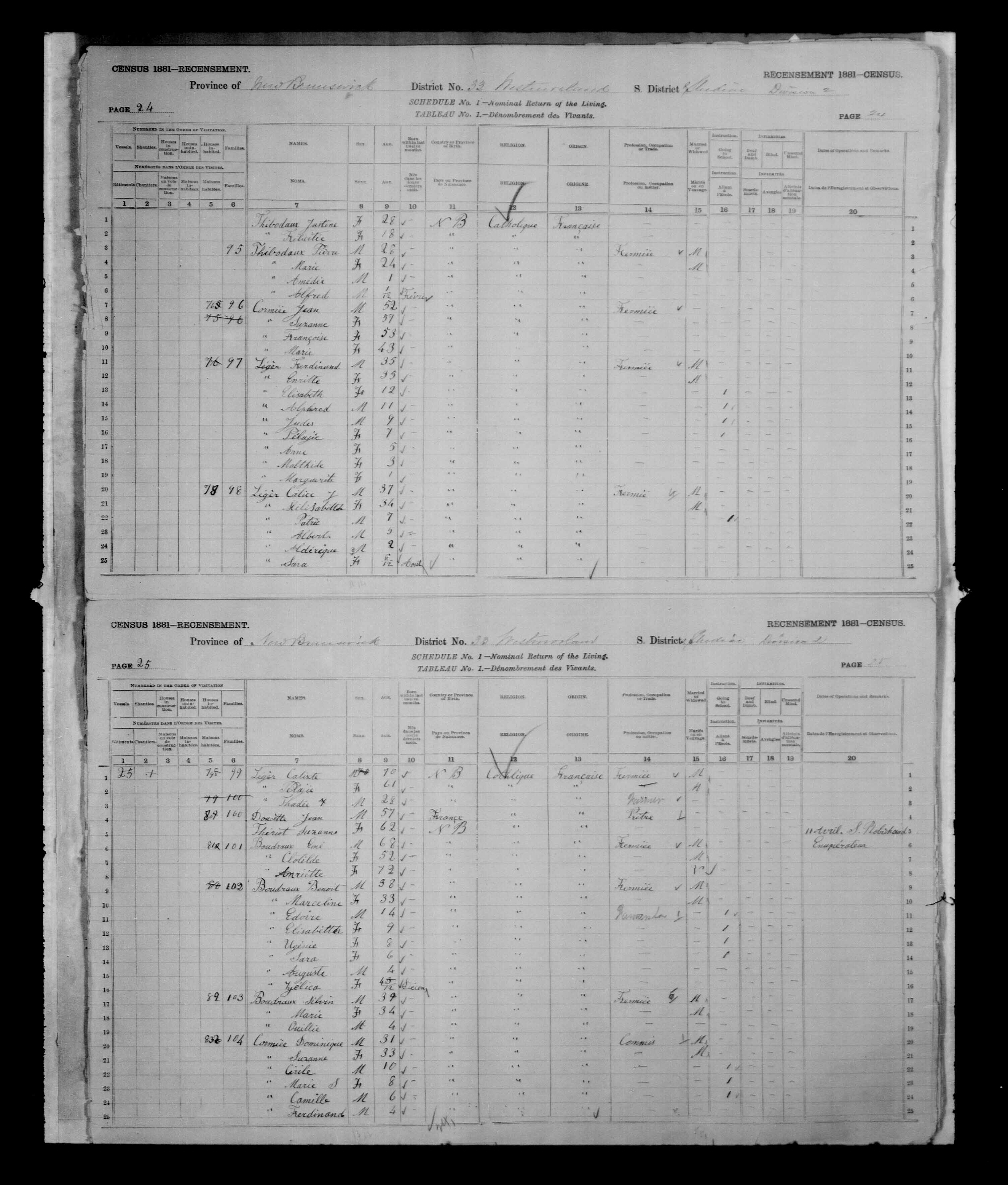 Digitized page of Census of Canada, 1881, Page number 24, for Ferdinand LEGER