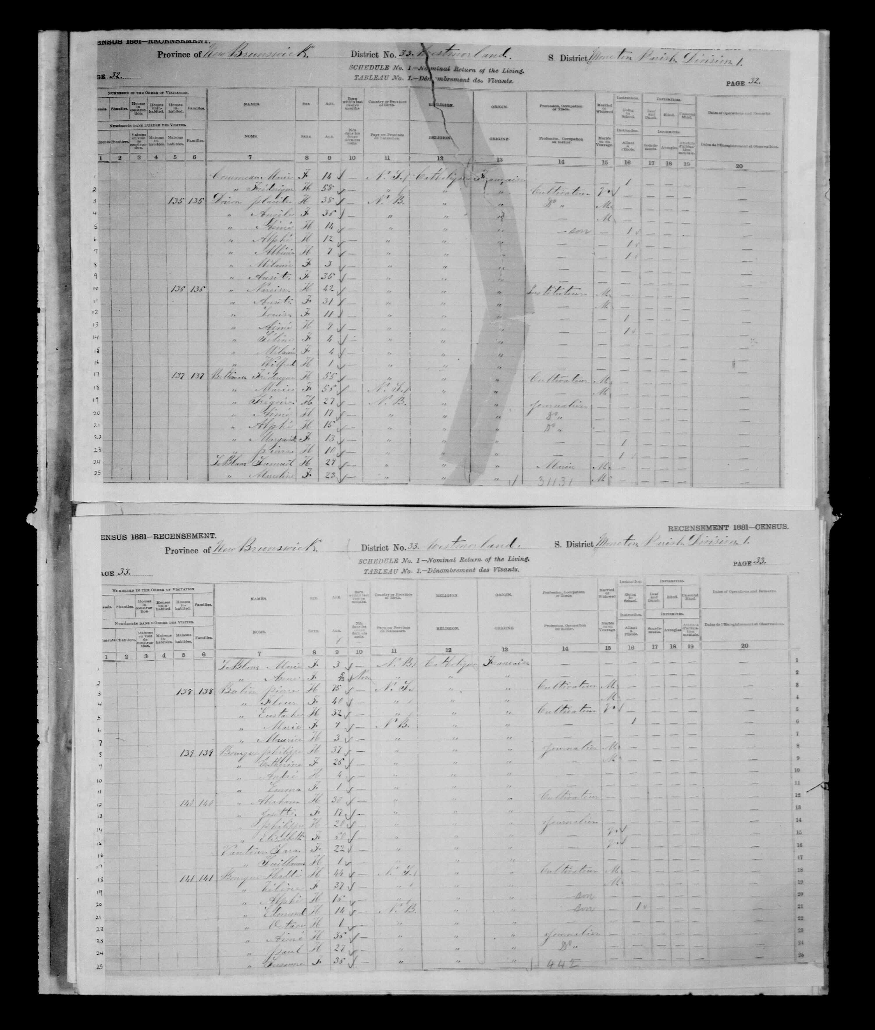 Digitized page of Census of Canada, 1881, Page number 33, for Thadde BOURQUE