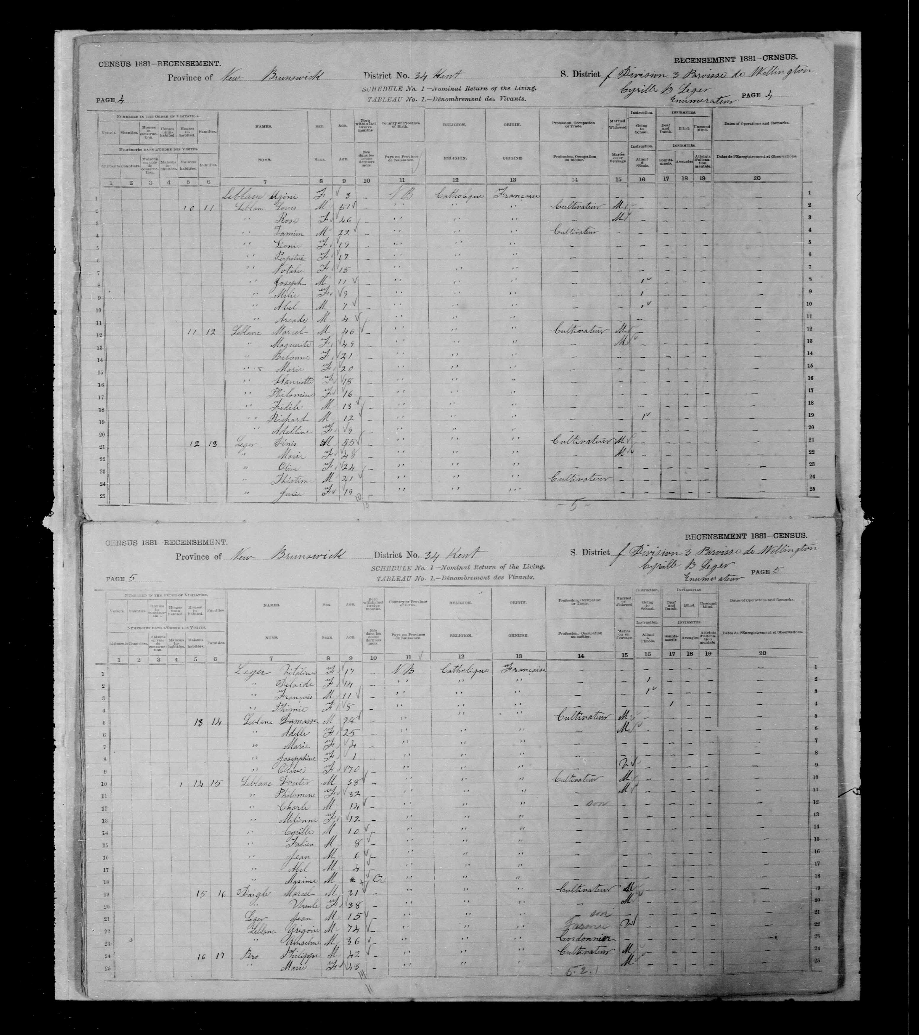 Digitized page of Census of Canada, 1881, Page number 5, for Marcel DAIGLE