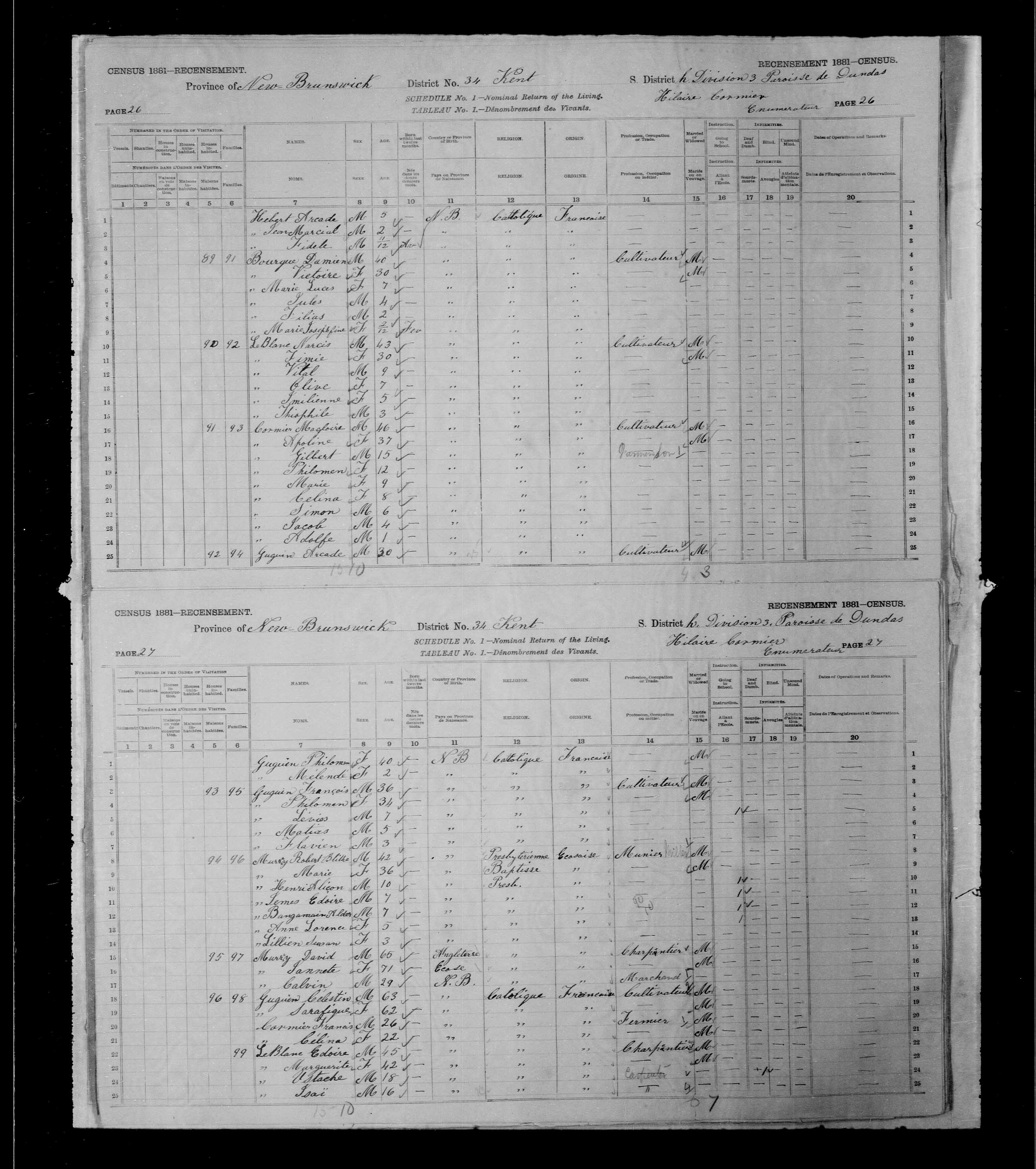 Digitized page of Census of Canada, 1881, Page number 26, for Magloire CORMIER
