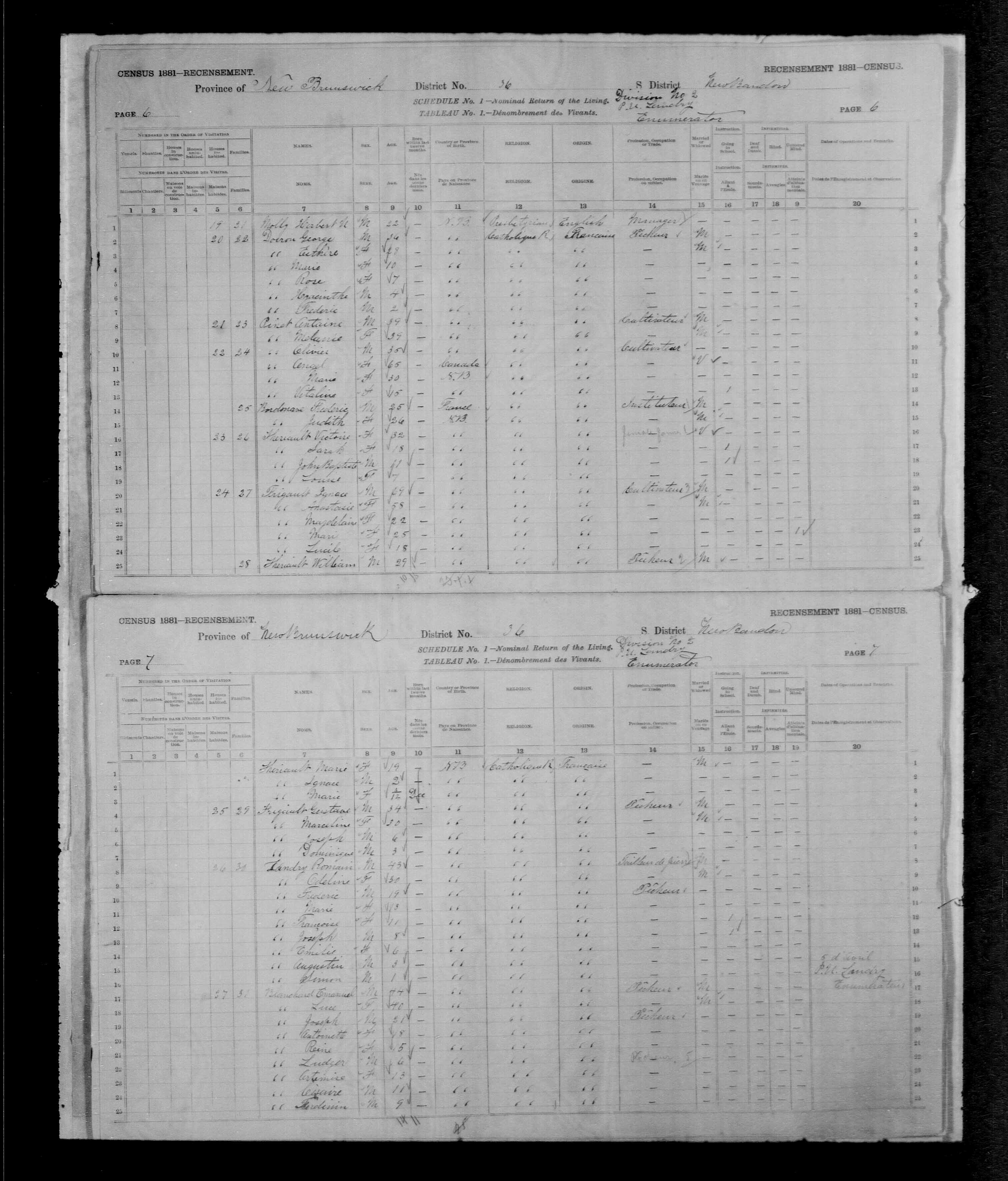 Digitized page of Census of Canada, 1881, Page number 6, for Olivier PINET