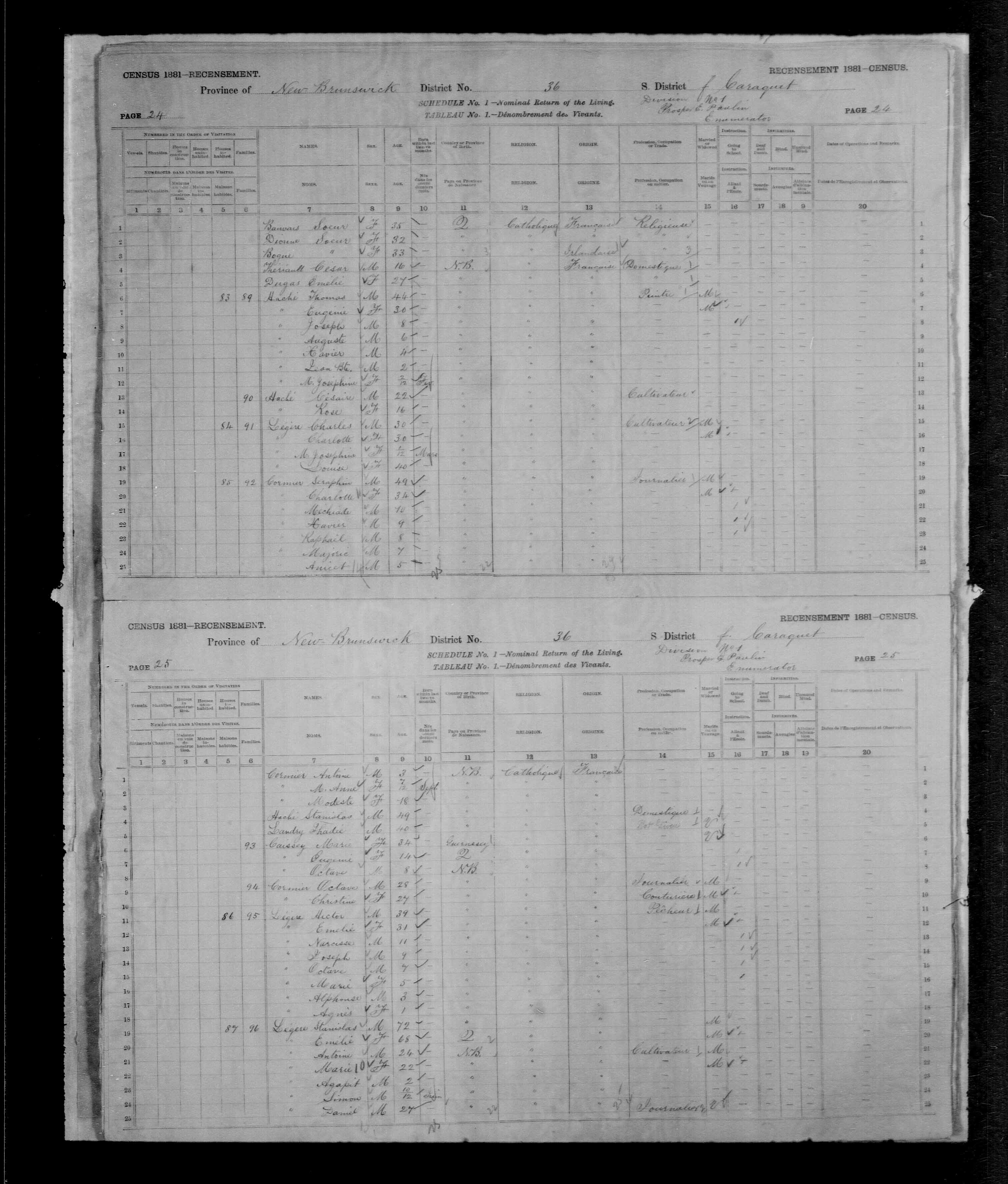 Digitized page of Census of Canada, 1881, Page number 25, for Hector LEGERE