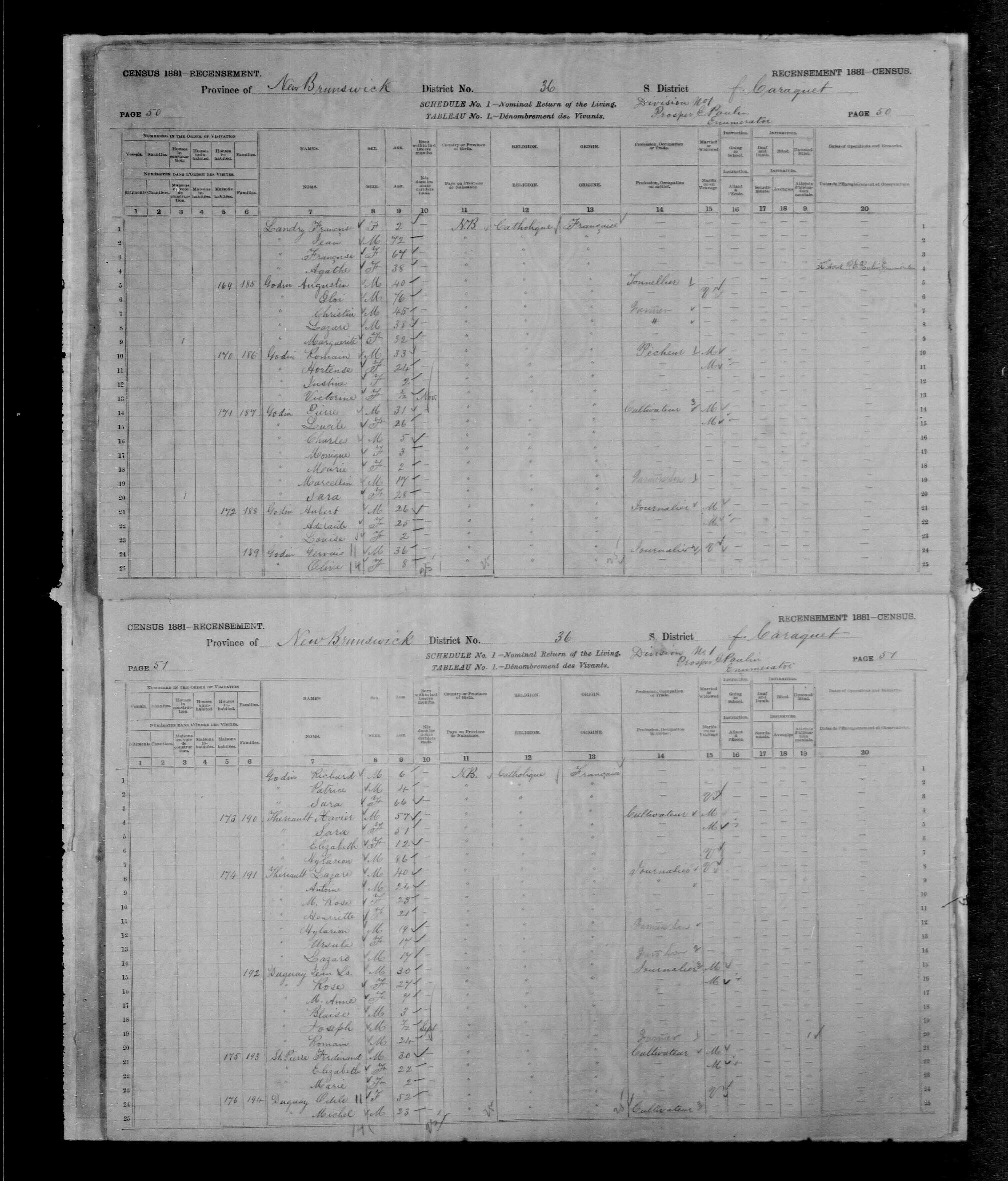 Digitized page of Census of Canada, 1881, Page number 51, for Xavier THERIAULT