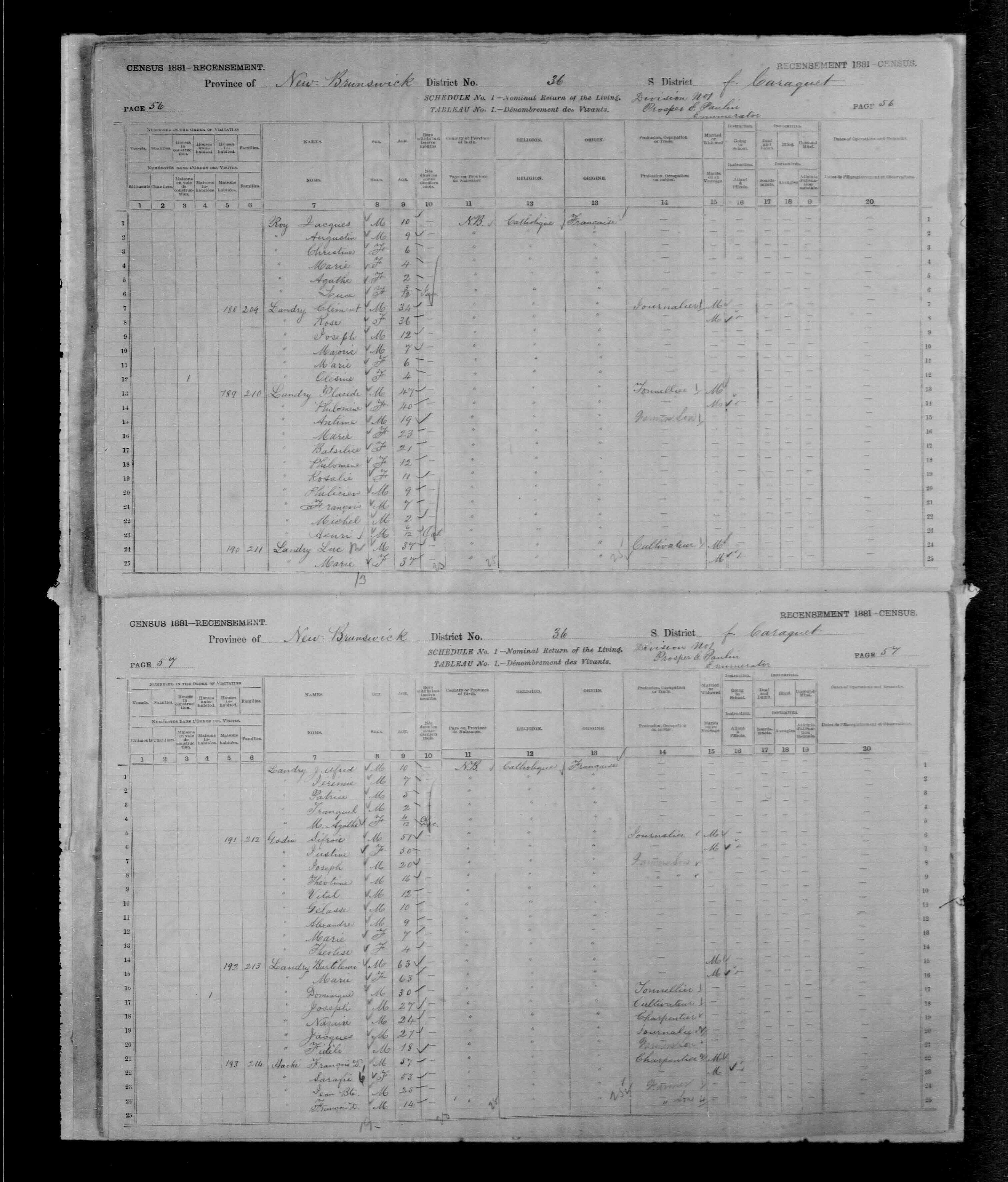 Digitized page of Census of Canada, 1881, Page number 57, for Francois D. HACHE