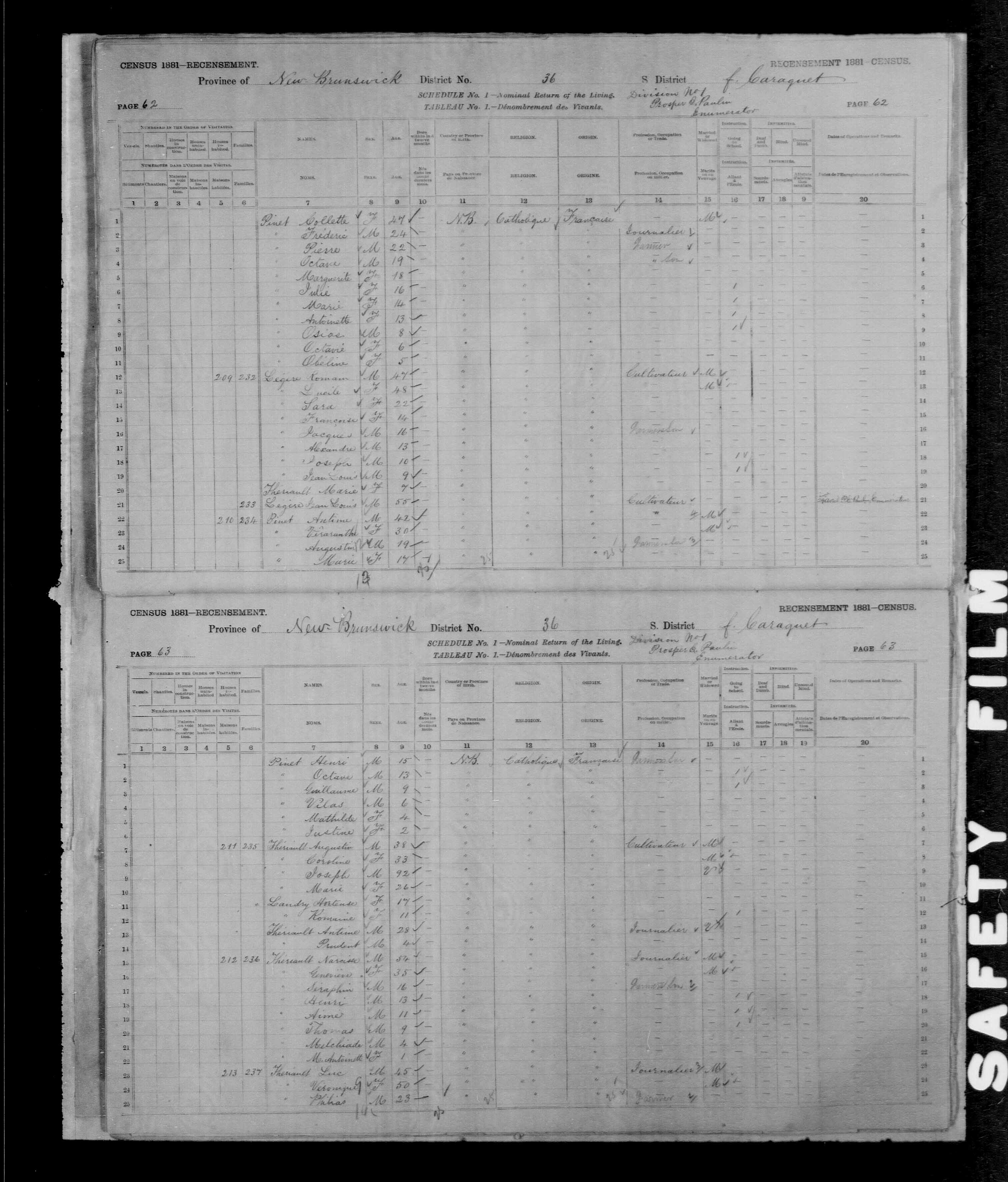 Digitized page of Census of Canada, 1881, Page number 62, for Romain LEGERE