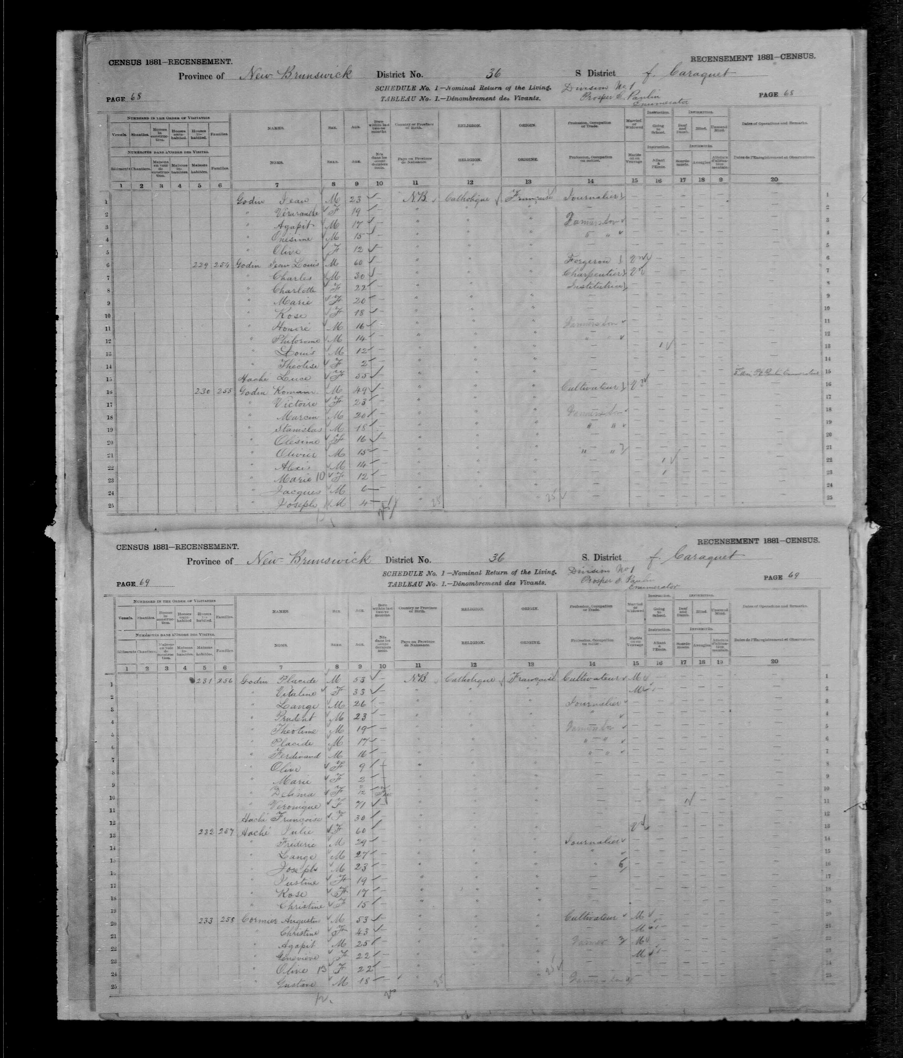 Digitized page of Census of Canada, 1881, Page number 69, for Augustin CORMIER