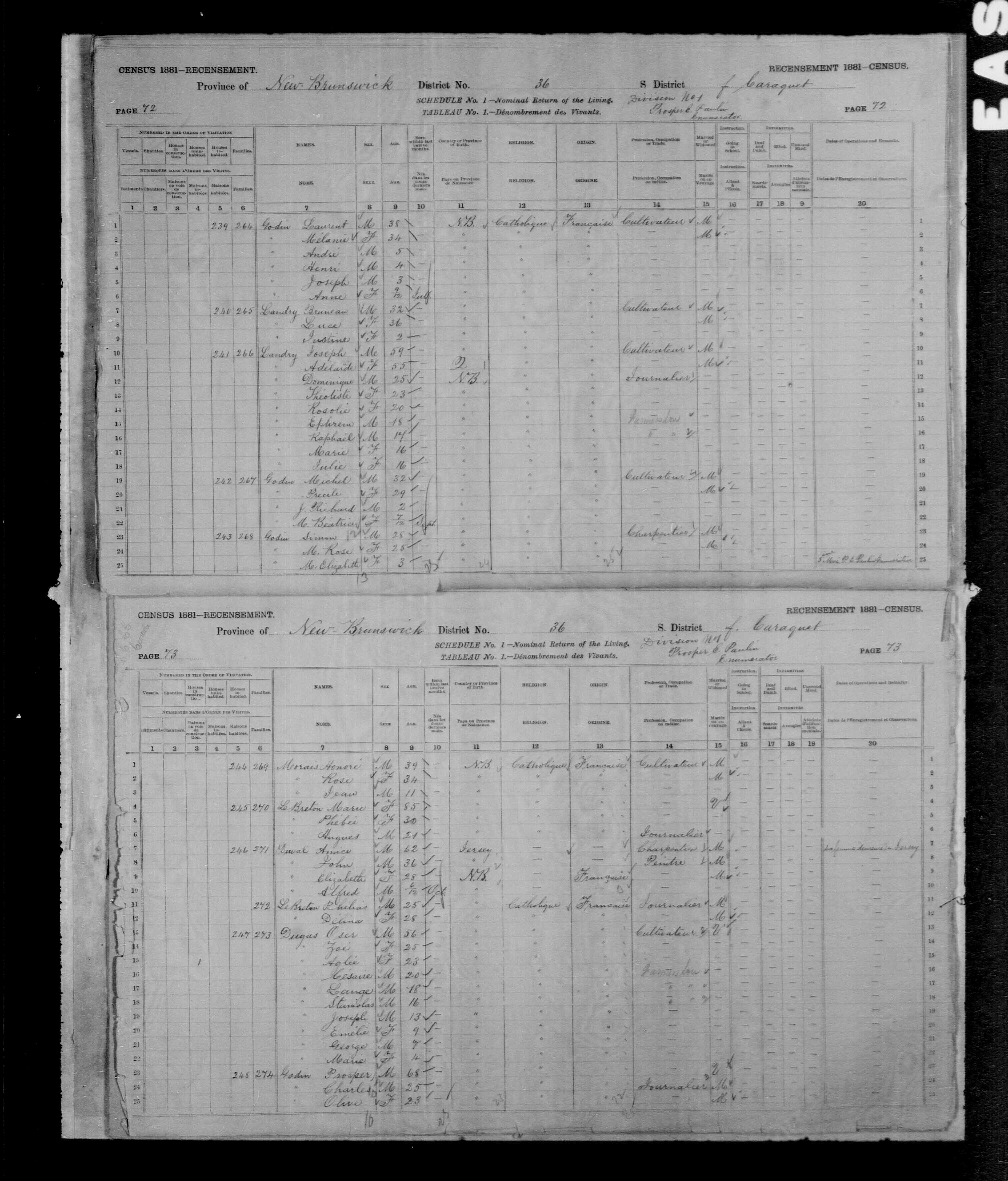 Digitized page of Census of Canada, 1881, Page number 73, for Charles GODIN