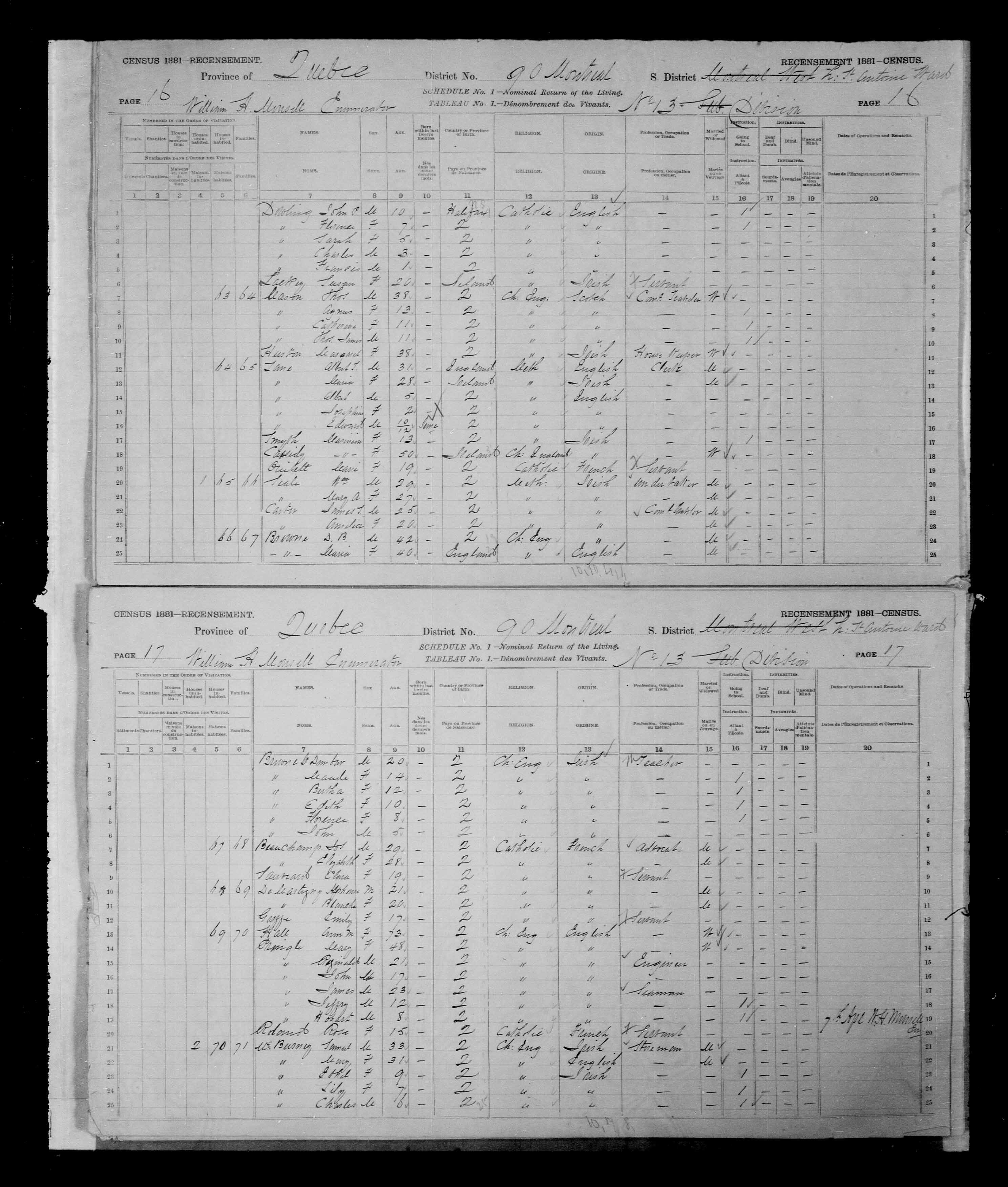 Digitized page of Census of Canada, 1881, Page number 16, for D.B. BROWNE