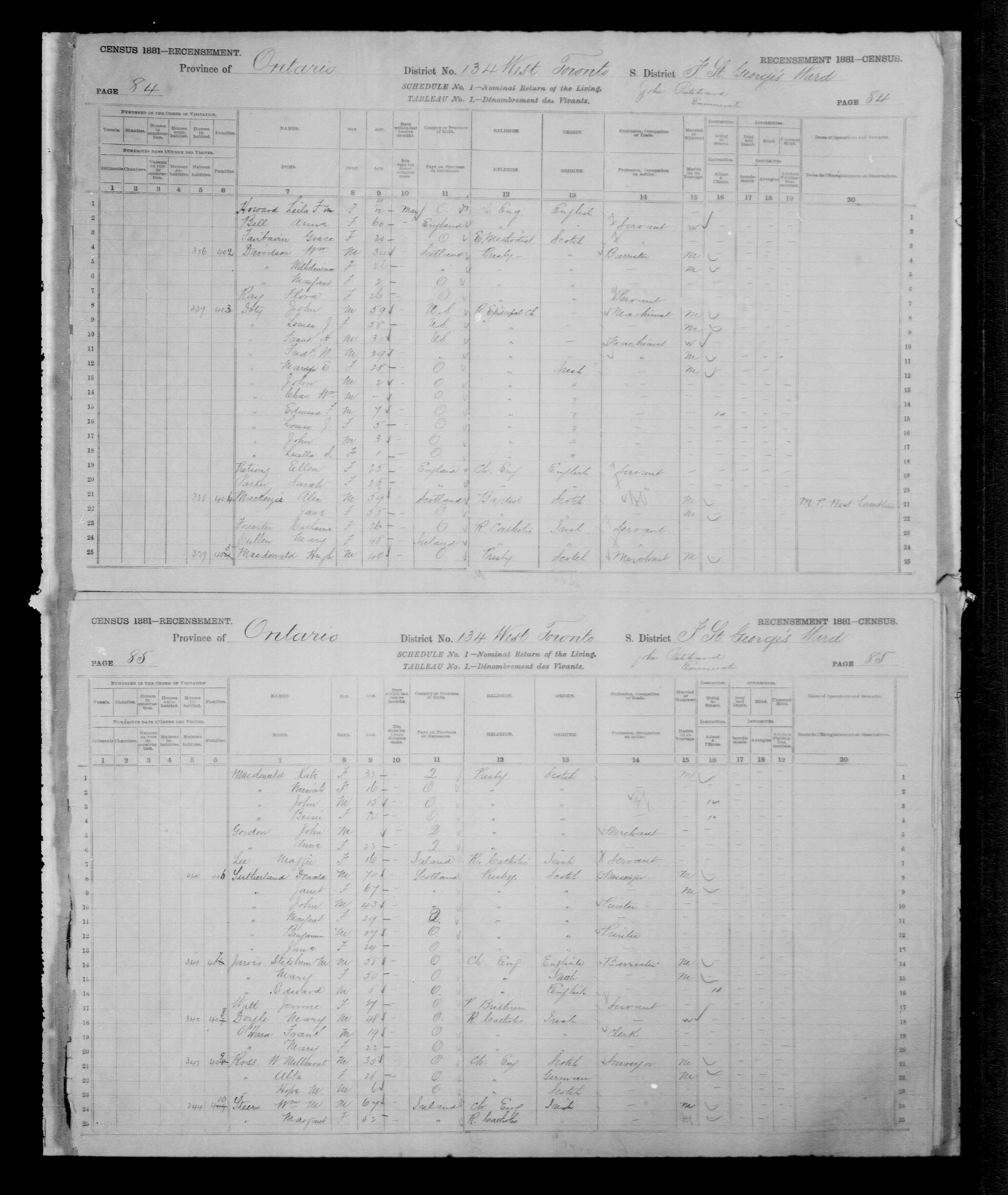 Digitized page of Census of Canada, 1881, Page number 84, for Alex MACKENZIE