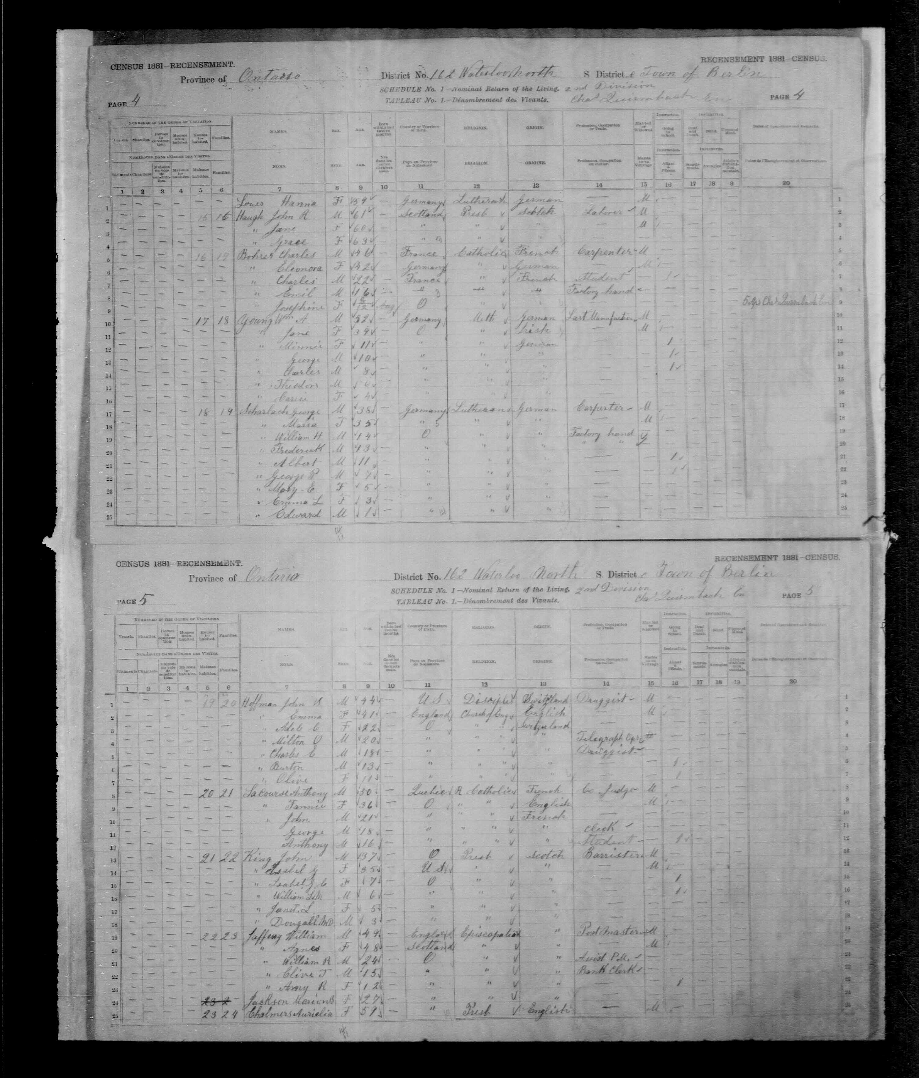 Digitized page of Census of Canada, 1881, Page number 5, for William L.M. KING