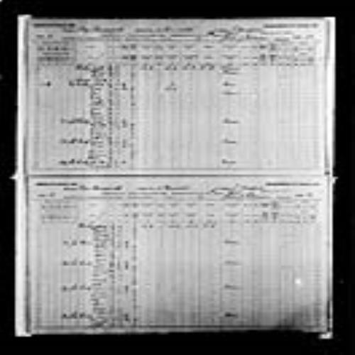 Digitized page of Census of Canada, 1891, Page number 12-13, for Isaic Gus Hackey