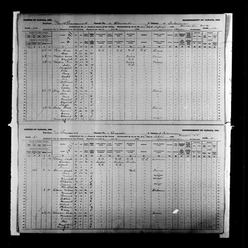 Digitized page of Census of Canada, 1891, Page number 20-21, for Joseph Commo